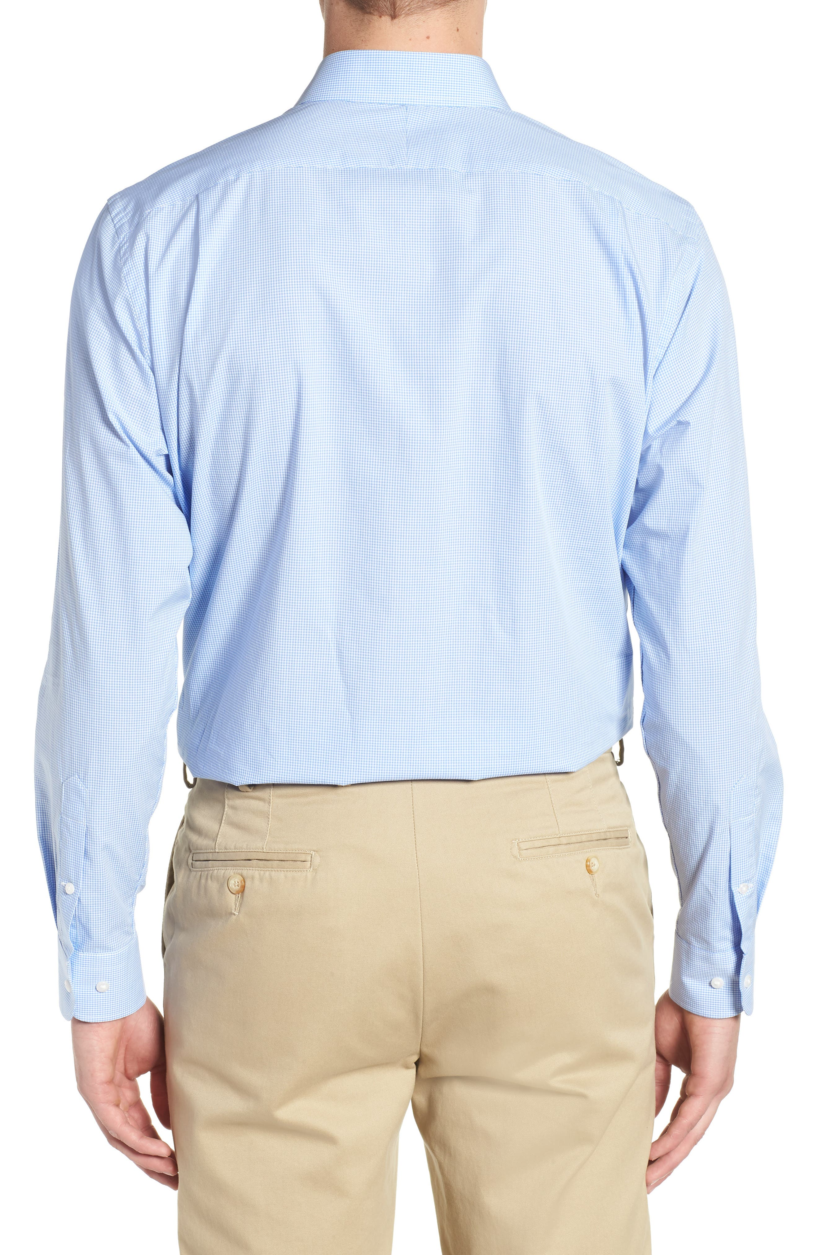 Traditional Fit Check Dress Shirt,                             Alternate thumbnail 3, color,                             Blue Cornflower