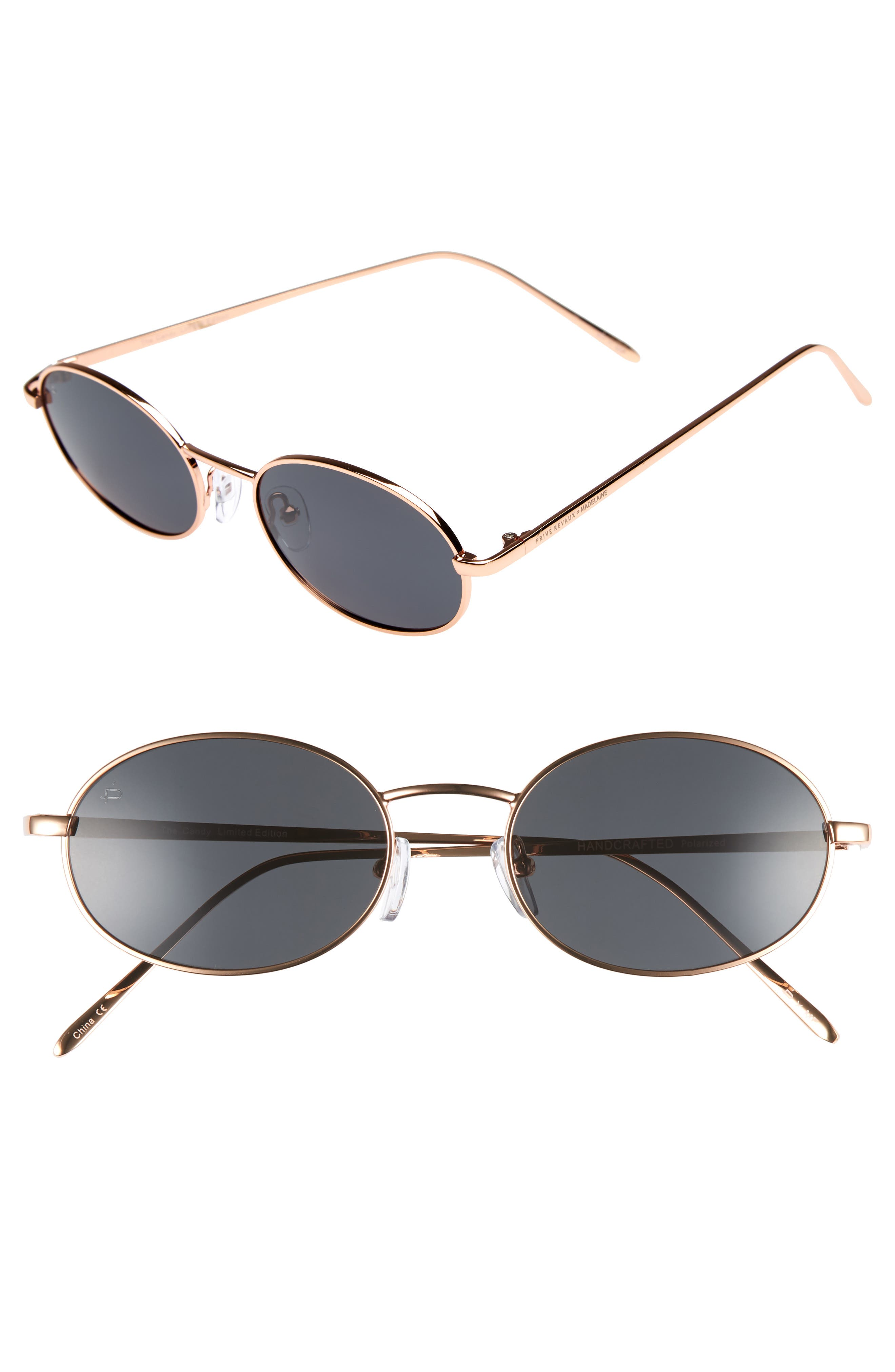 Privé Revaux x Madelaine Petsch The Candy 50mm Round Sunglasses,                             Main thumbnail 1, color,                             Gold/ Smoke