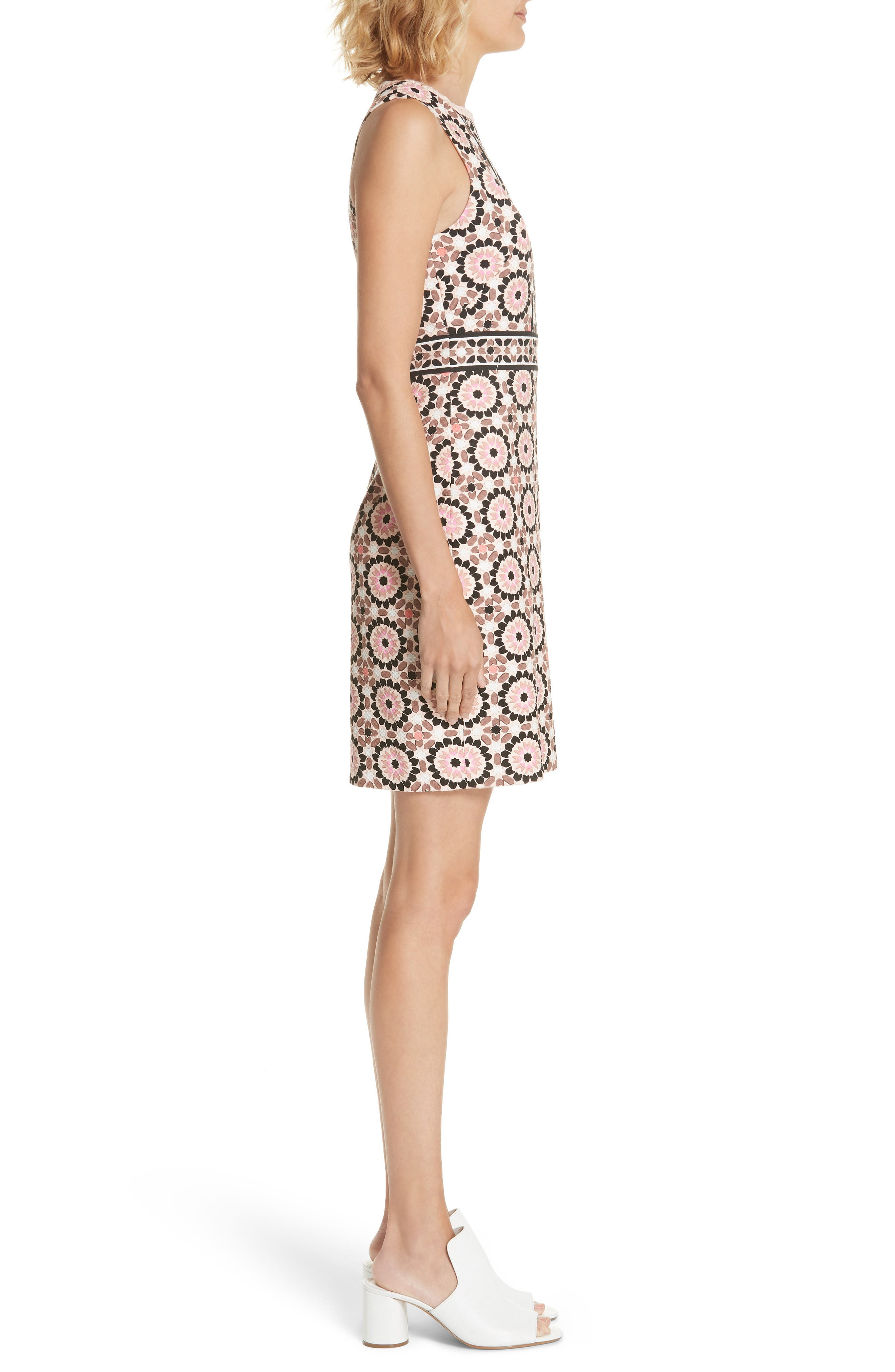 floral mosaic jacquard sheath dress,                             Alternate thumbnail 4, color,                             Pearl Pink Multi