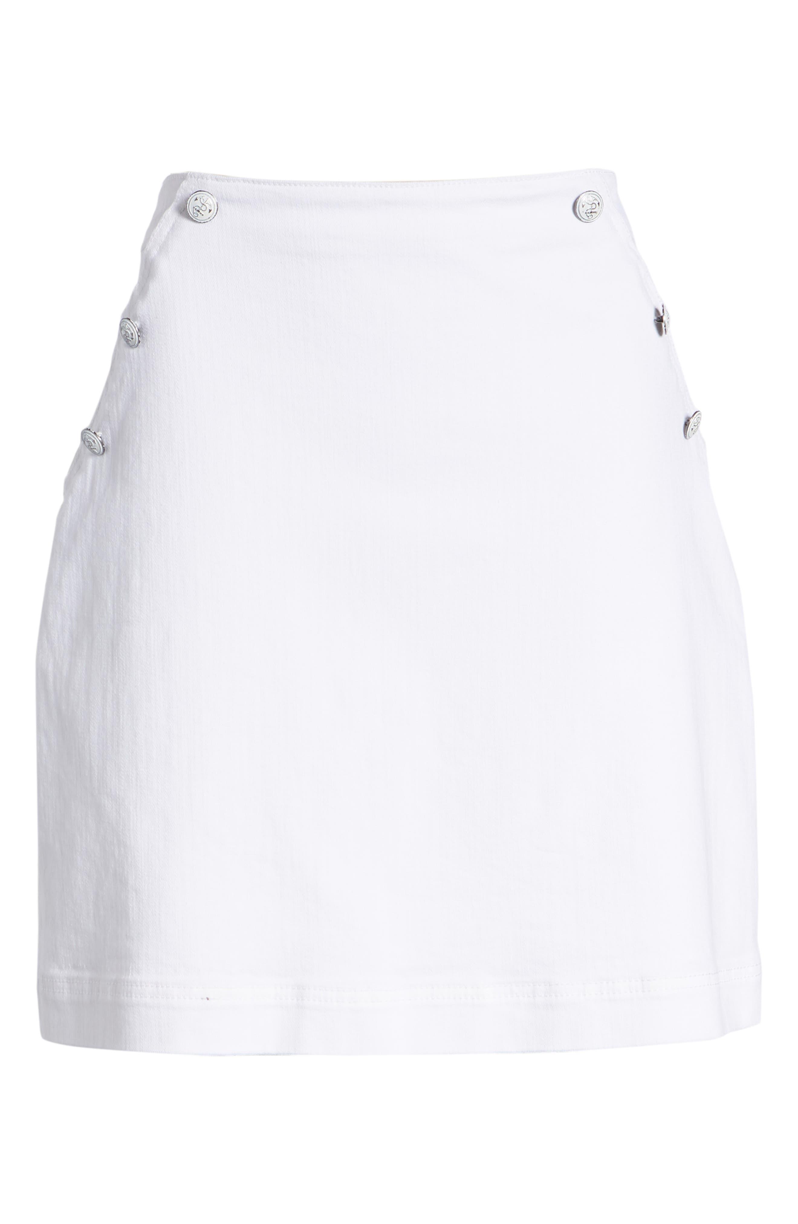 Sailor Button White Denim Skirt,                             Alternate thumbnail 7, color,                             White