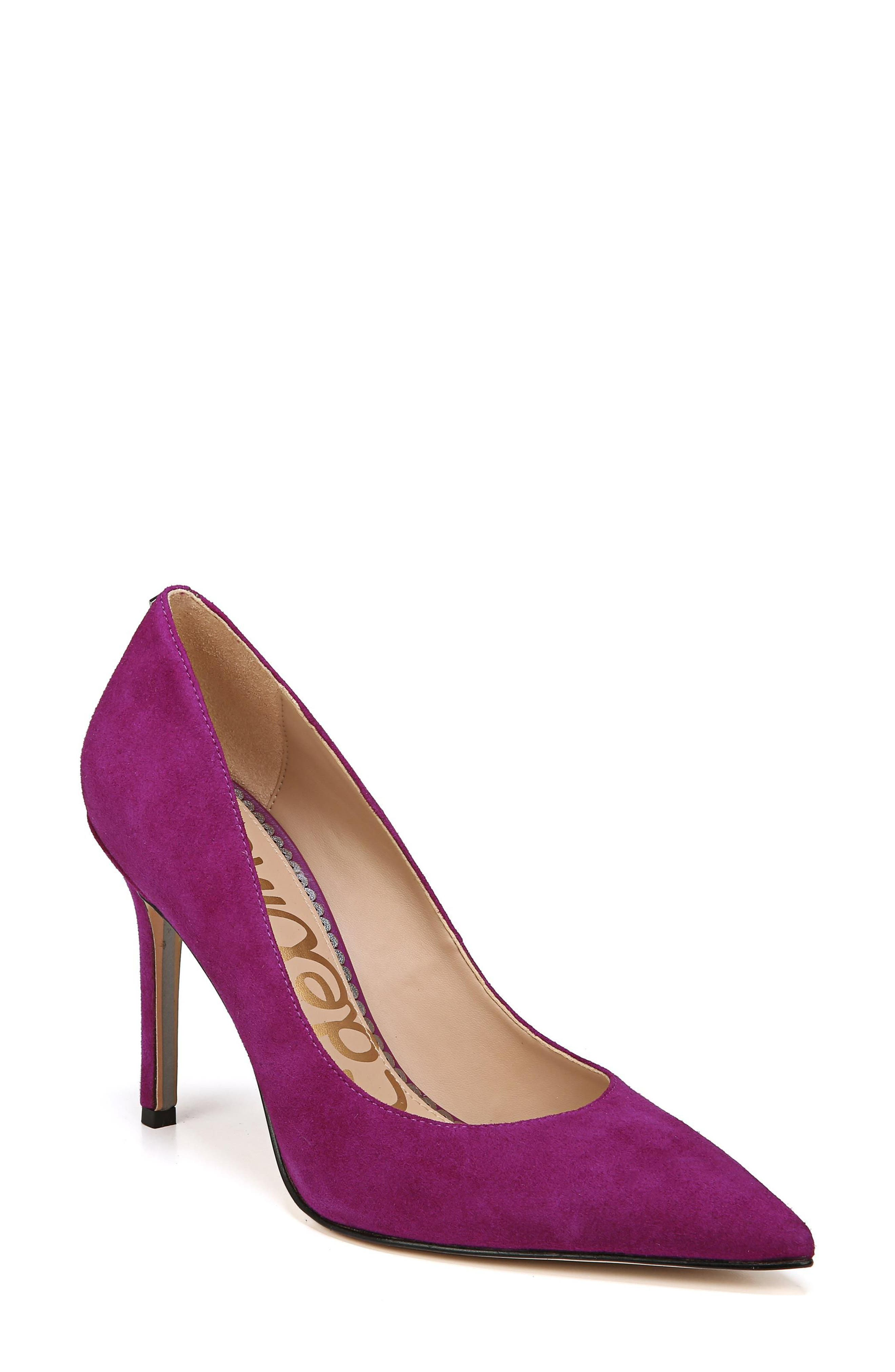Hazel Pointy Toe Pump,                             Main thumbnail 1, color,                             Purple Plum Suede