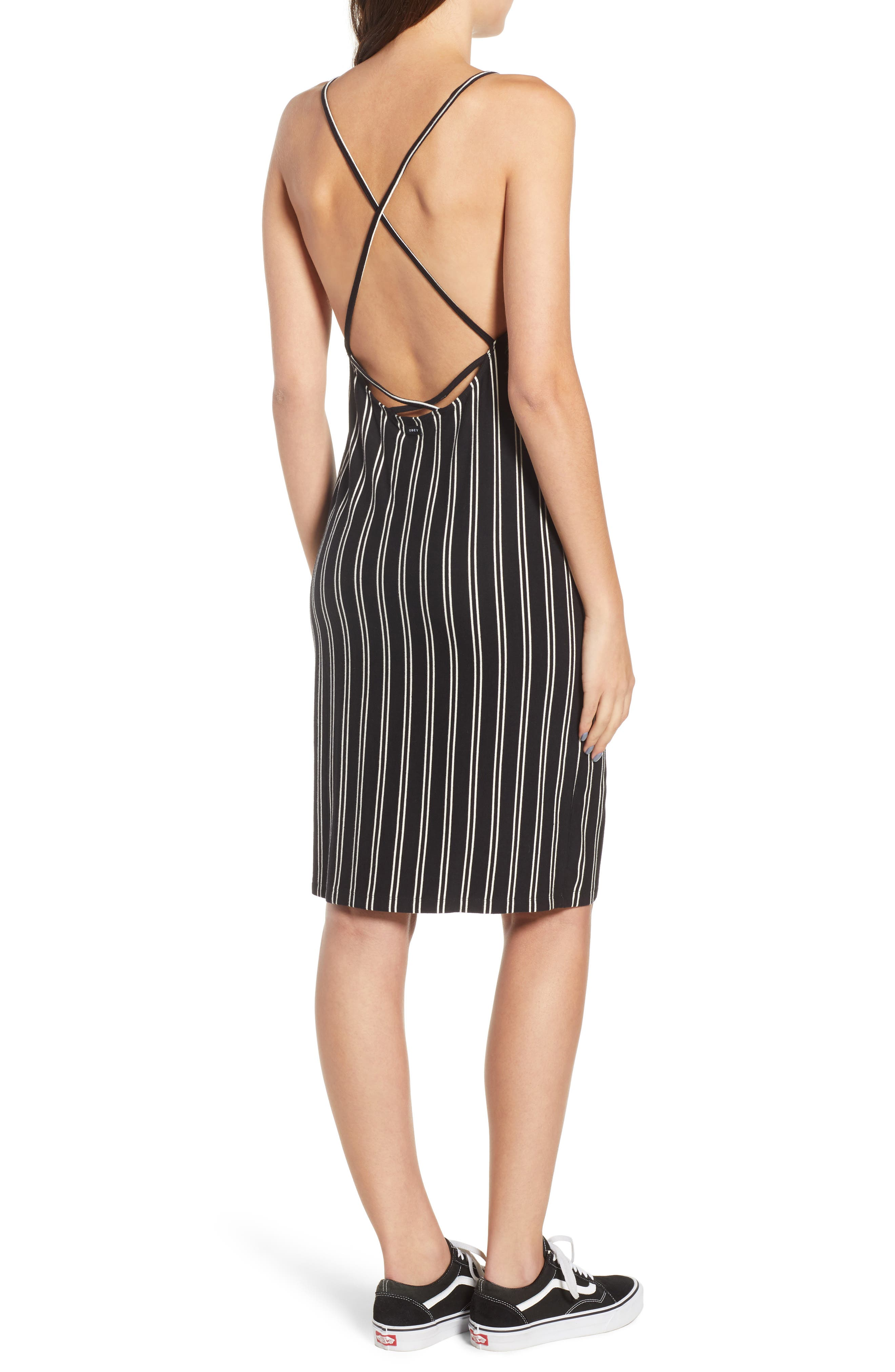 Lockette Strappy Striped Dress,                             Alternate thumbnail 2, color,                             Jet Black Multi