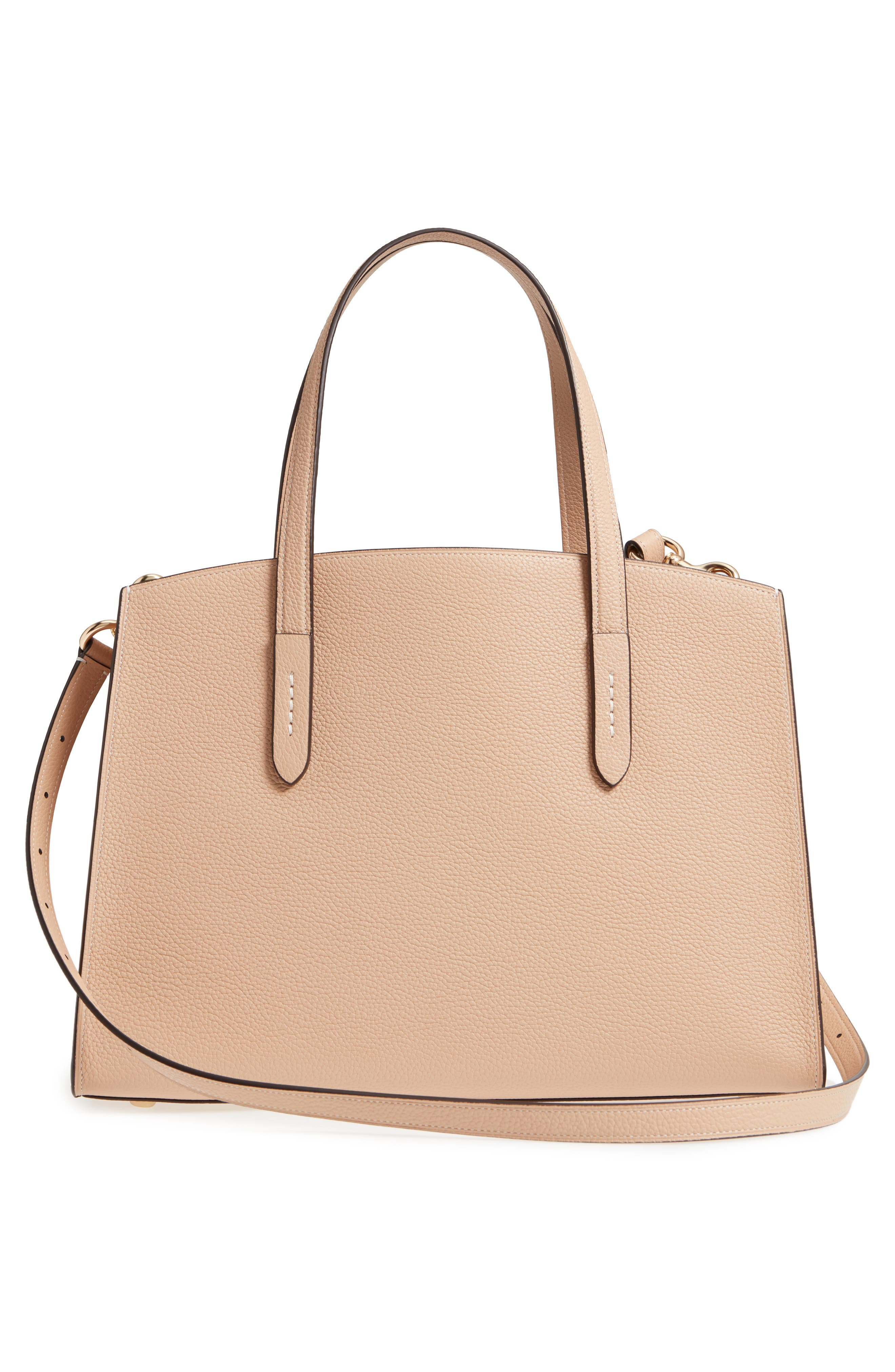 Charlie Leather Tote,                             Alternate thumbnail 3, color,                             Beechwood