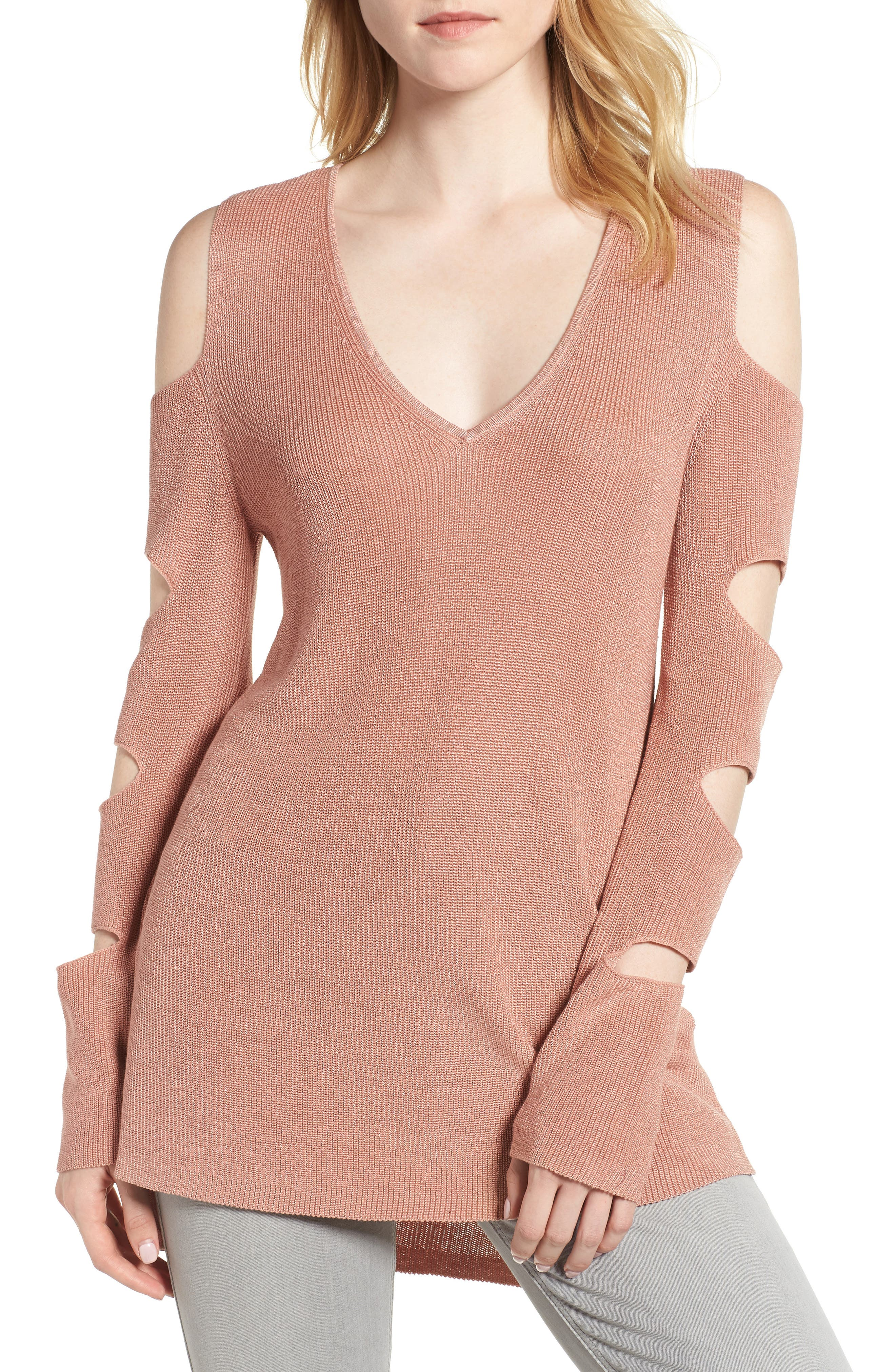 Cutout Sweater,                         Main,                         color, Sheer Blush