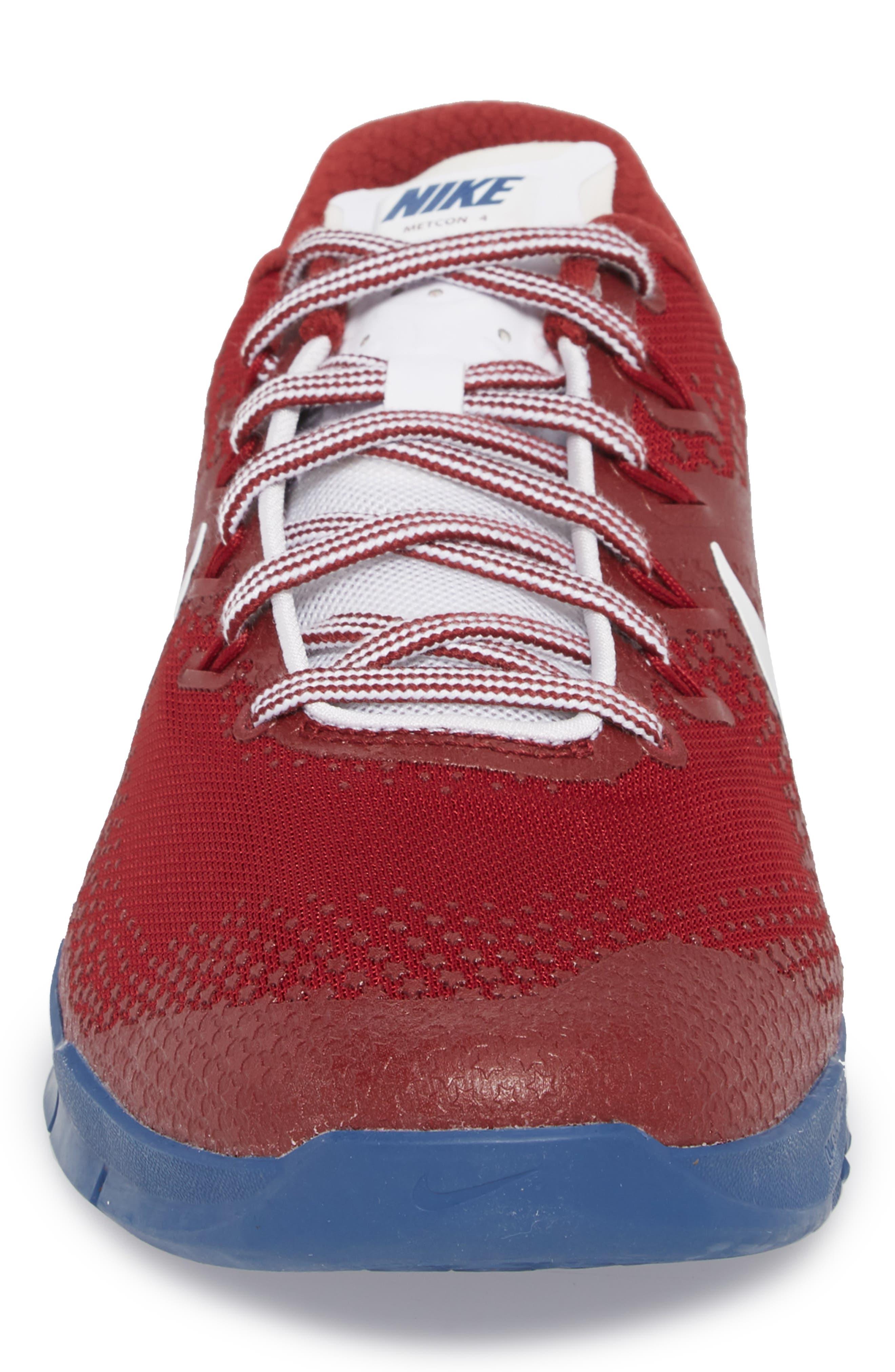 Metcon 4 Americana Training Shoe,                             Alternate thumbnail 4, color,                             Team Red/ White/ Gym Blue