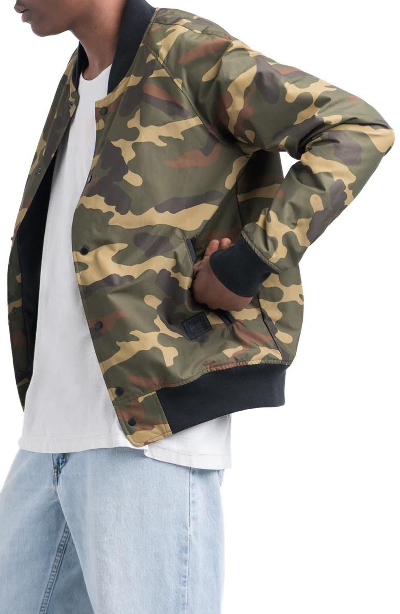 Varsity Jacket,                             Alternate thumbnail 3, color,                             Woodland Camo/ Black