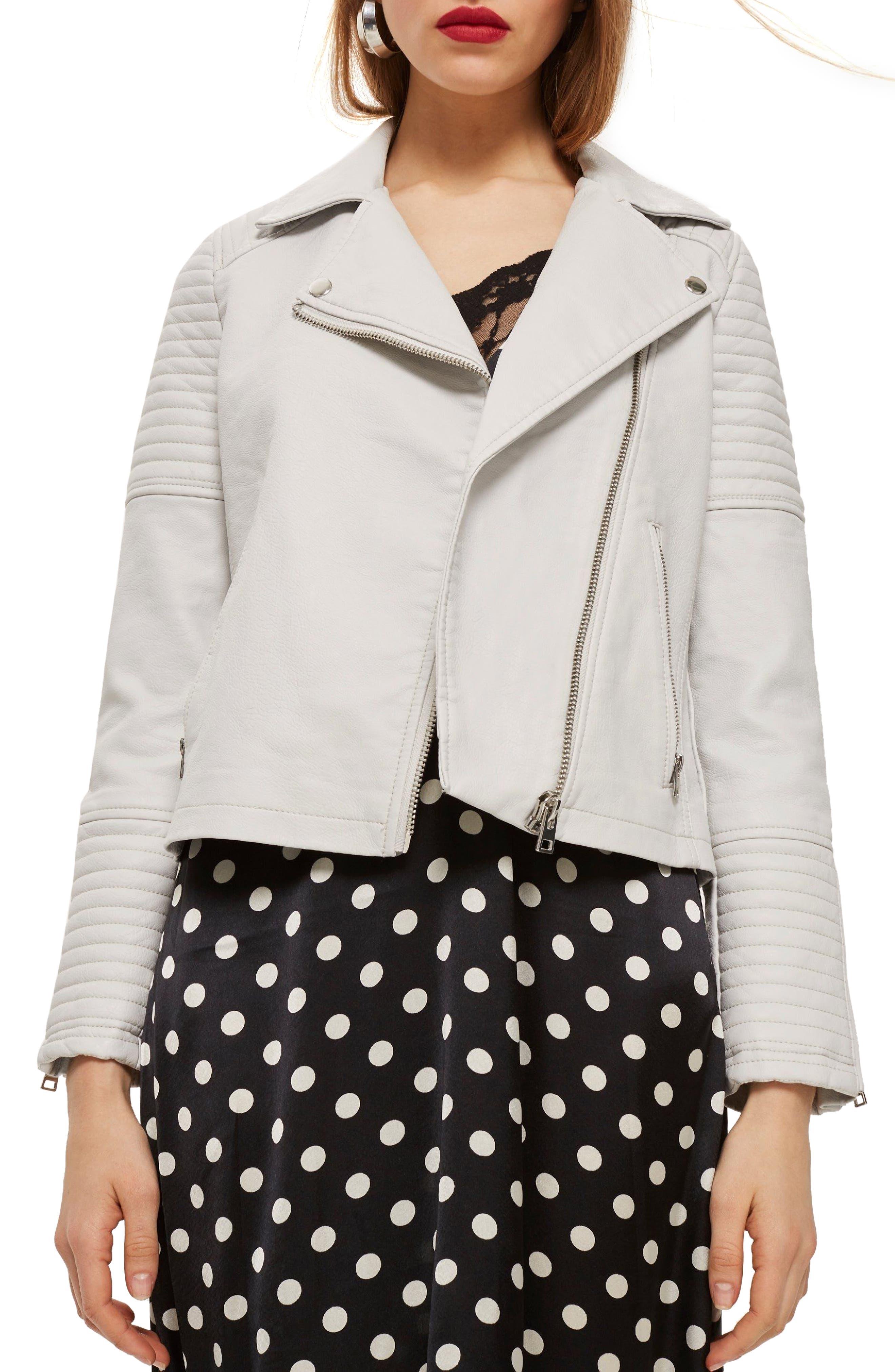 Rosa Biker Jacket,                         Main,                         color, White
