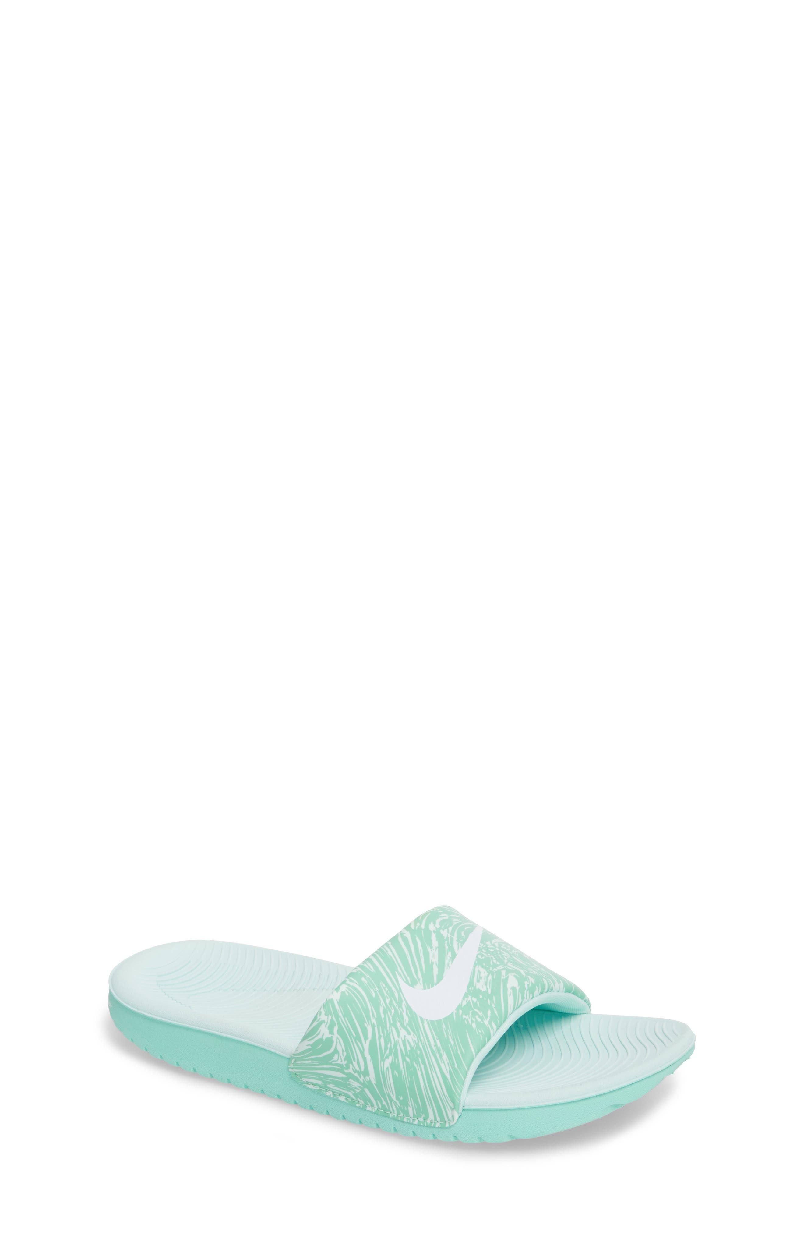 'Kawa' Print Slide Sandal,                             Main thumbnail 1, color,                             Emerald Rise/ White/ Igloo