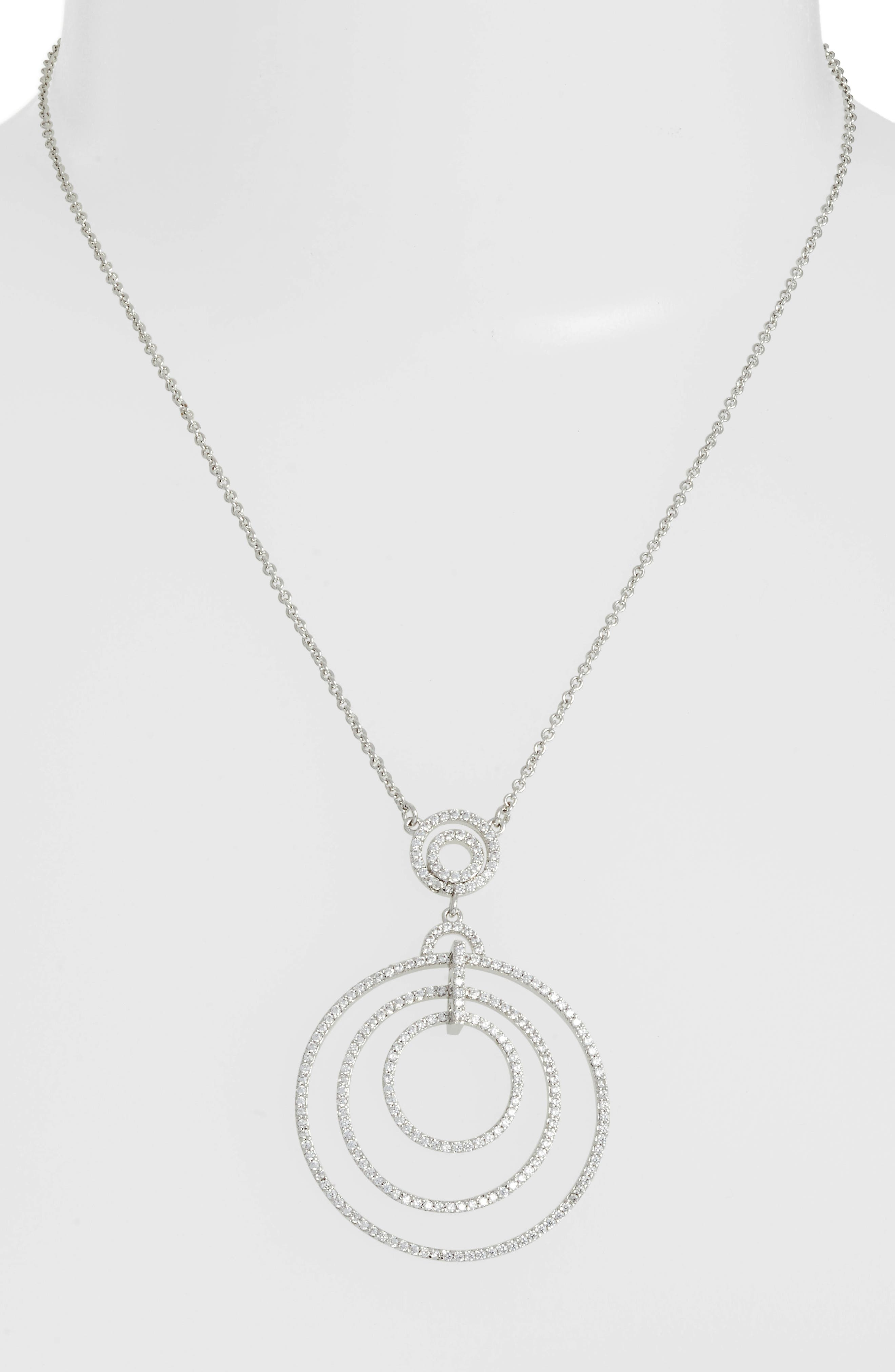 Orbital Pendant Necklace,                             Alternate thumbnail 2, color,                             White/ Silver