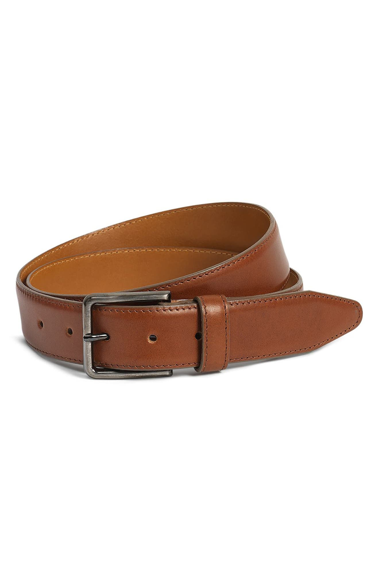 Flint Leather Belt,                             Main thumbnail 1, color,                             Tan