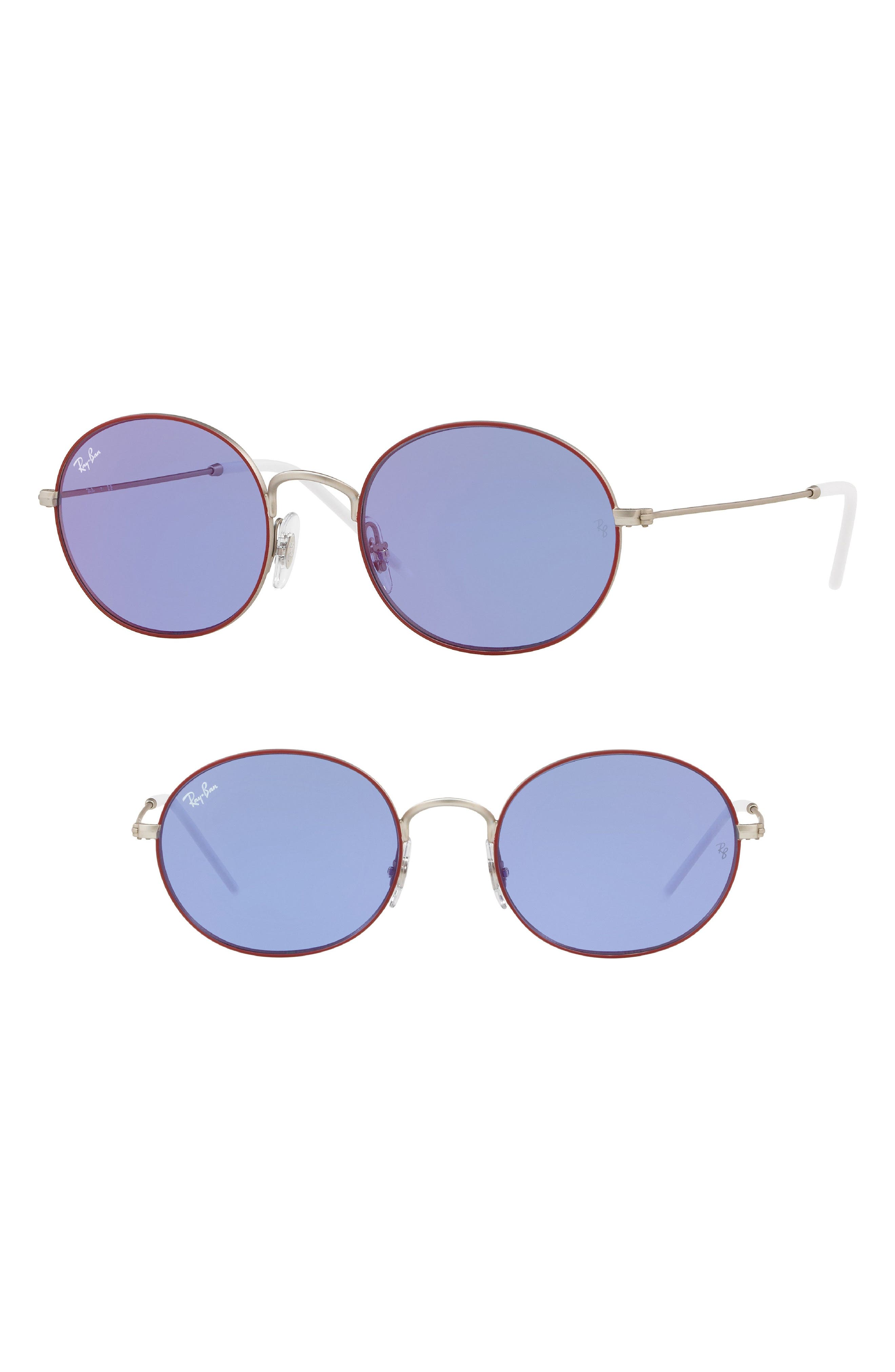 Youngster 53mm Oval Sunglasses,                             Main thumbnail 1, color,                             Purple/ Red Mirror