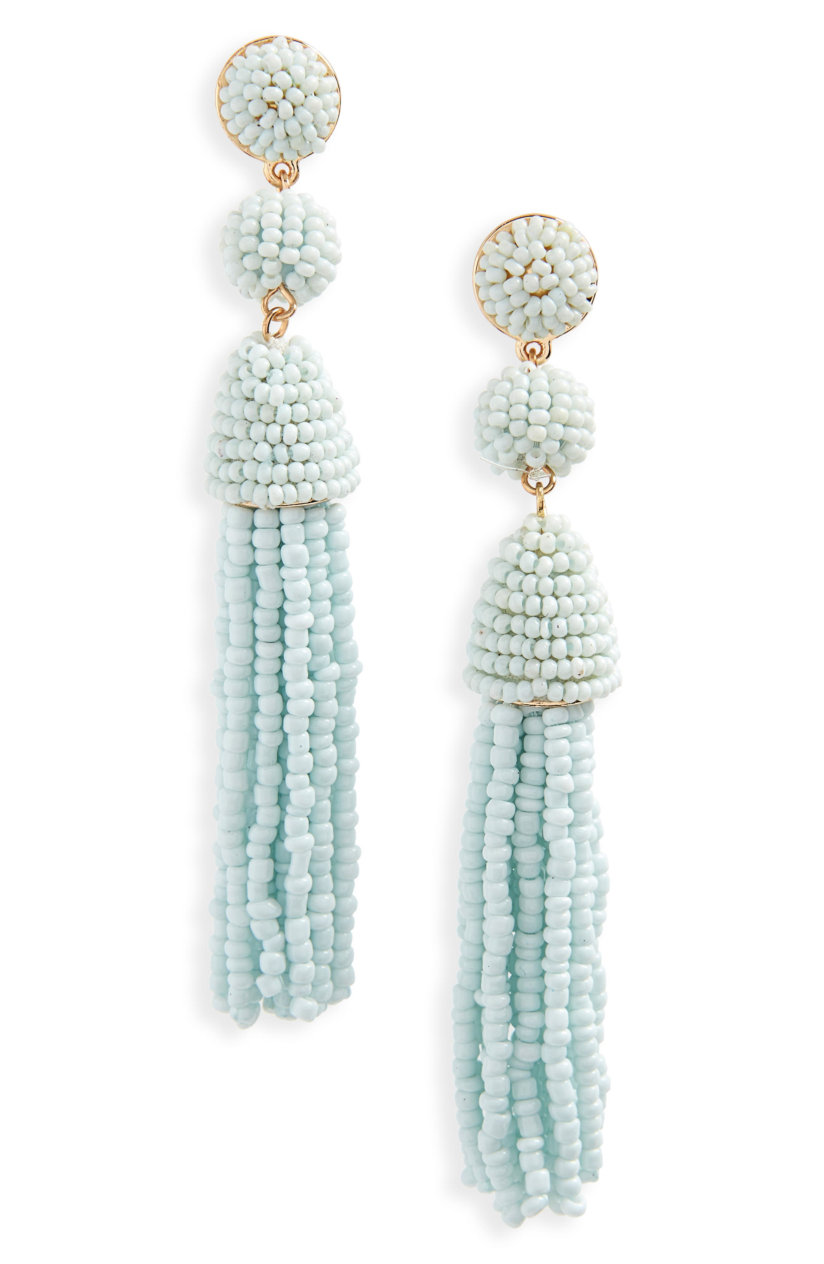 Granita Beaded Tassel Earrings,                             Main thumbnail 1, color,                             Pale Blue