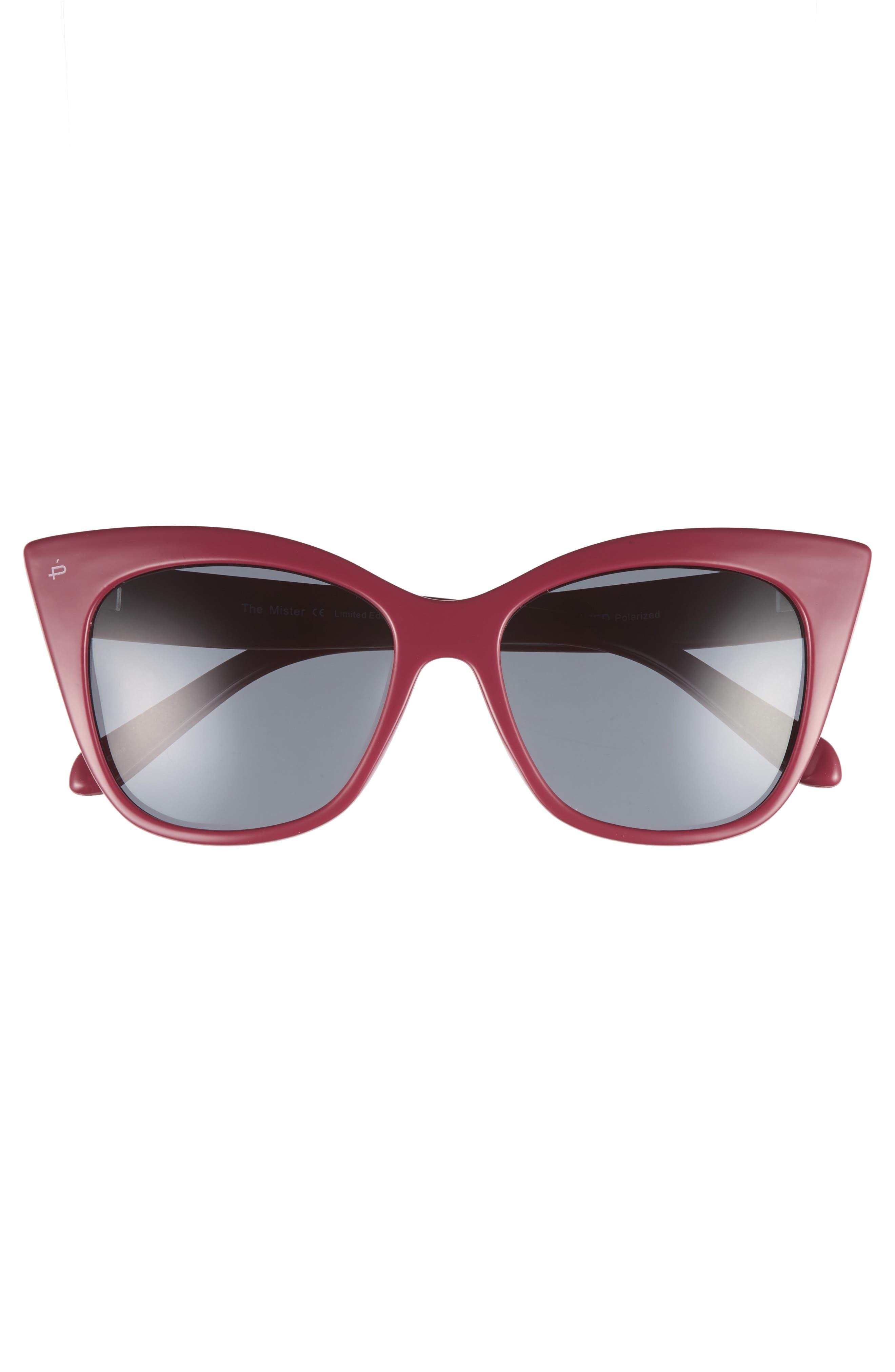 Privé Revaux x Madelaine Petsch The Mister 54mm Cat Eye Sunglasses,                             Alternate thumbnail 4, color,                             Red/ Black