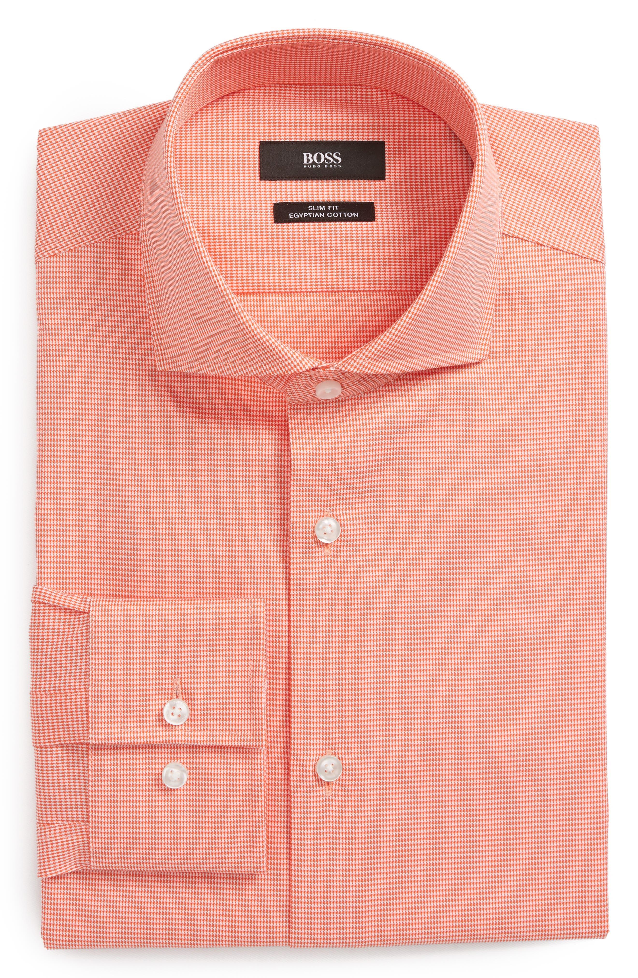 Jason Slim Fit Houndstooth Dress Shirt,                         Main,                         color, Orange