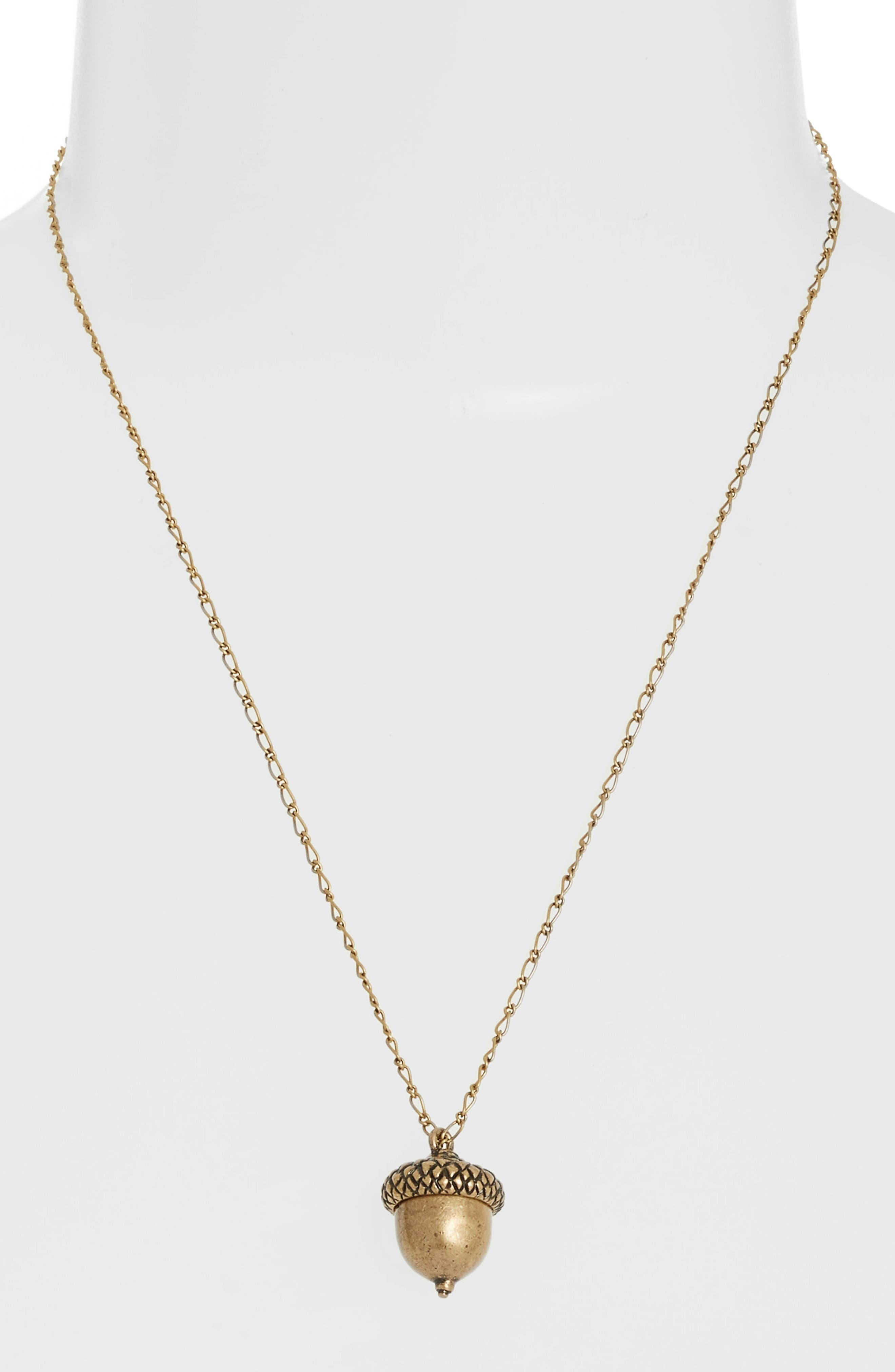Short Acorn Necklace,                             Alternate thumbnail 2, color,                             Brass
