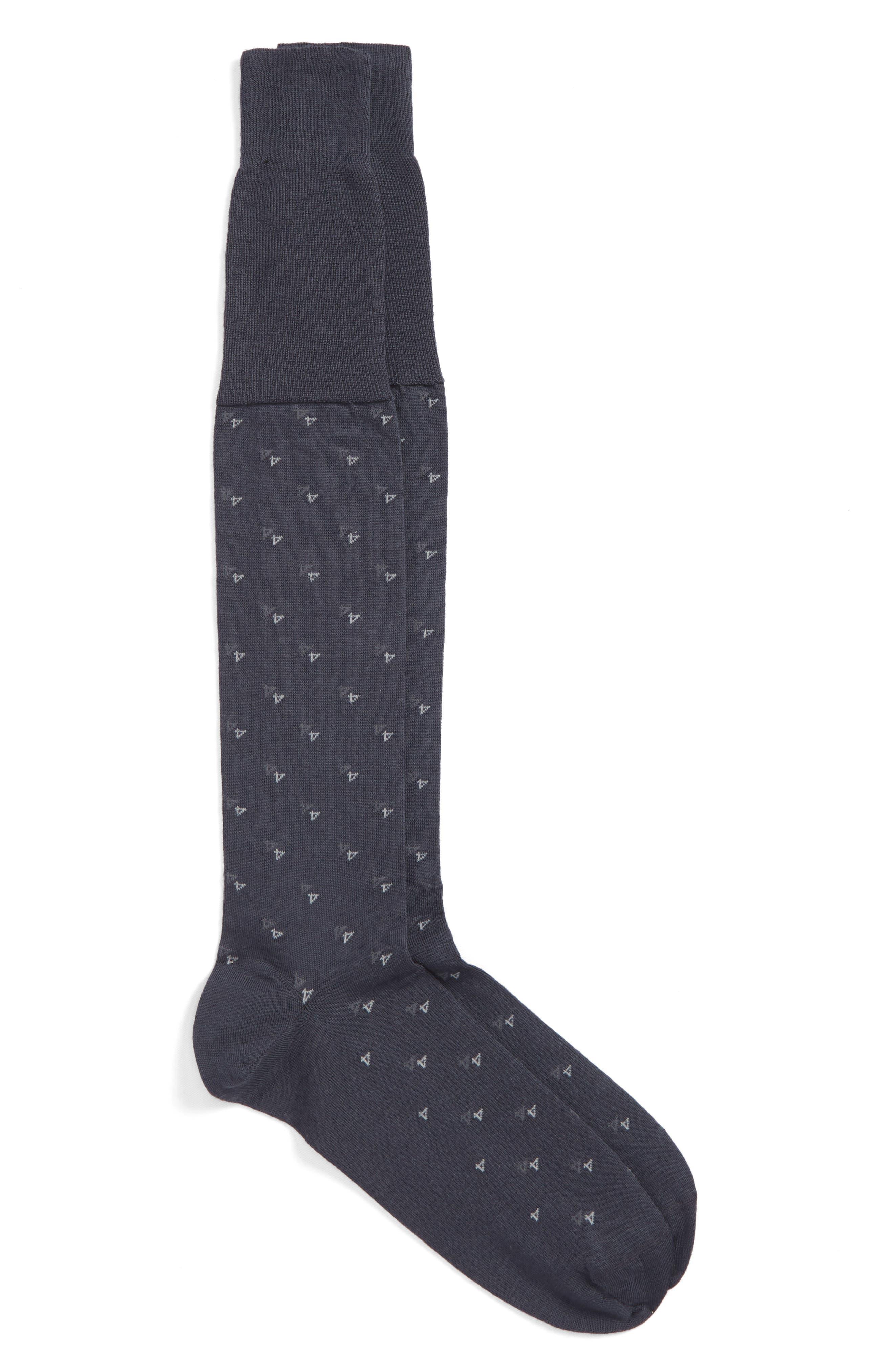 Geometric Over-the-Calf Socks,                             Main thumbnail 1, color,                             Navy Heather