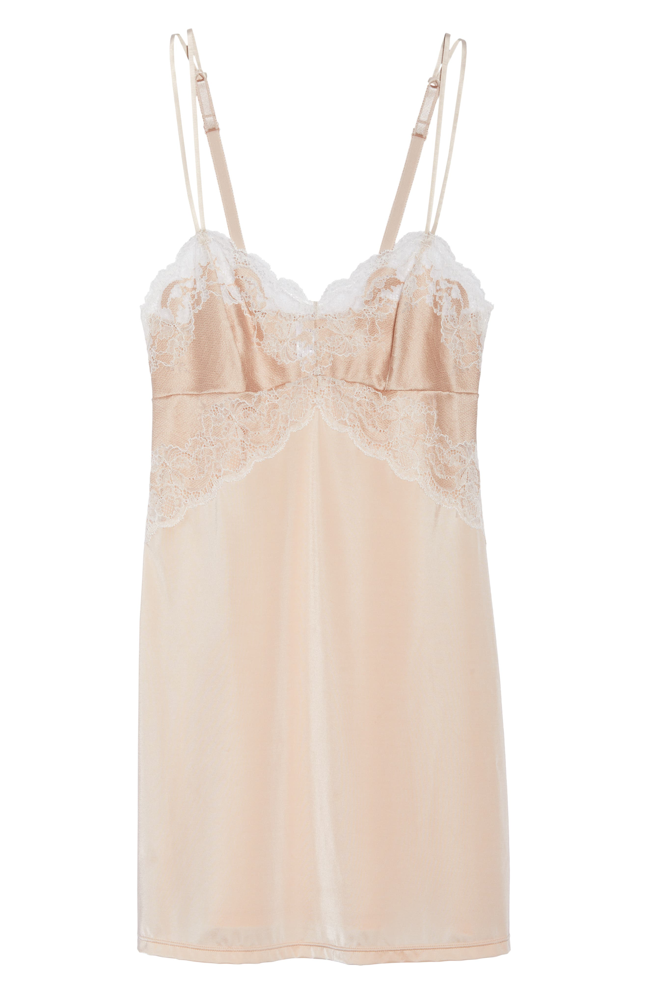 Lace Affair Chemise,                             Alternate thumbnail 4, color,                             Rose Dust/ Angel Wing