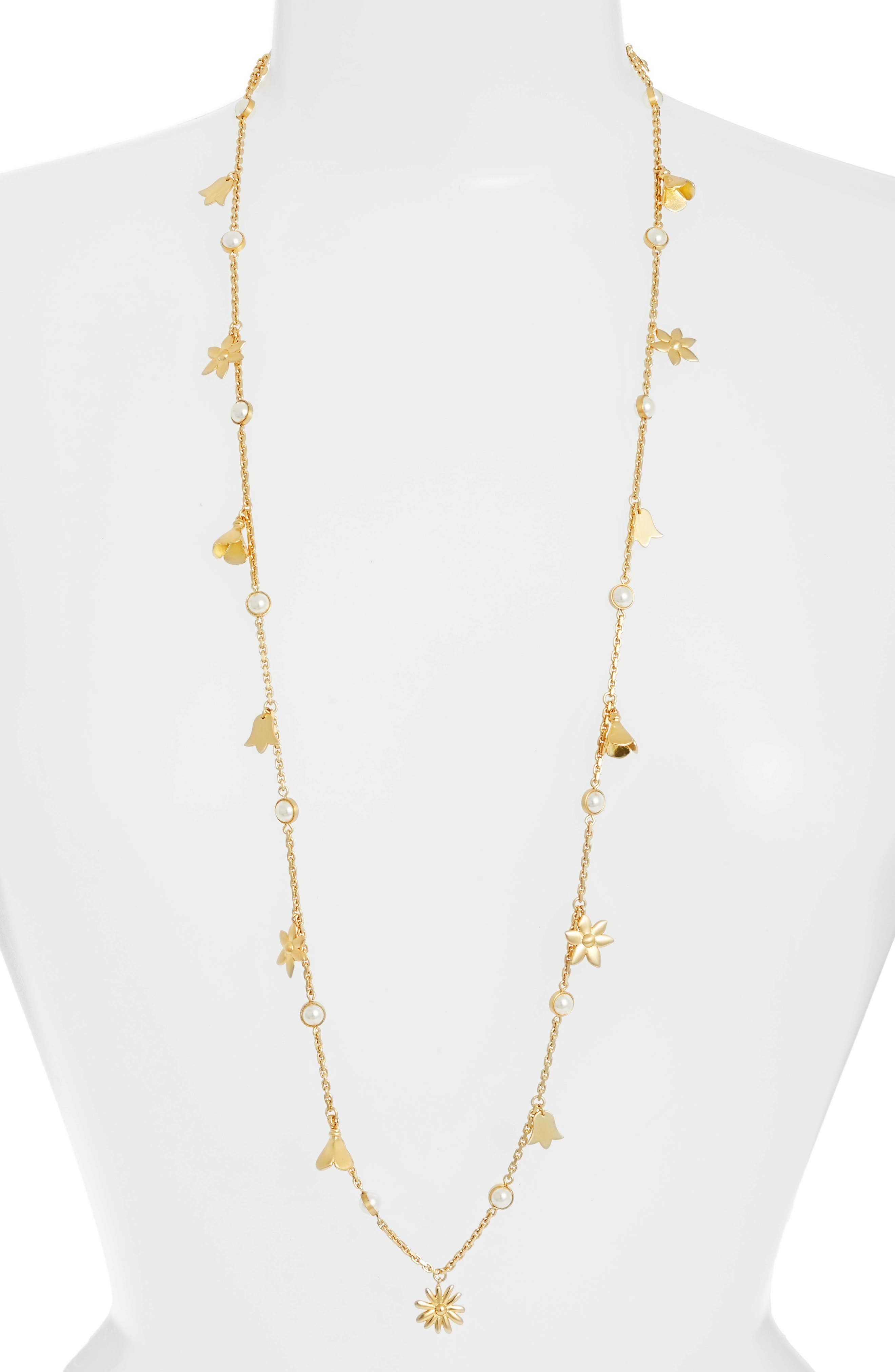 Bellflower Rosary Necklace,                         Main,                         color, Pearl/ Brass