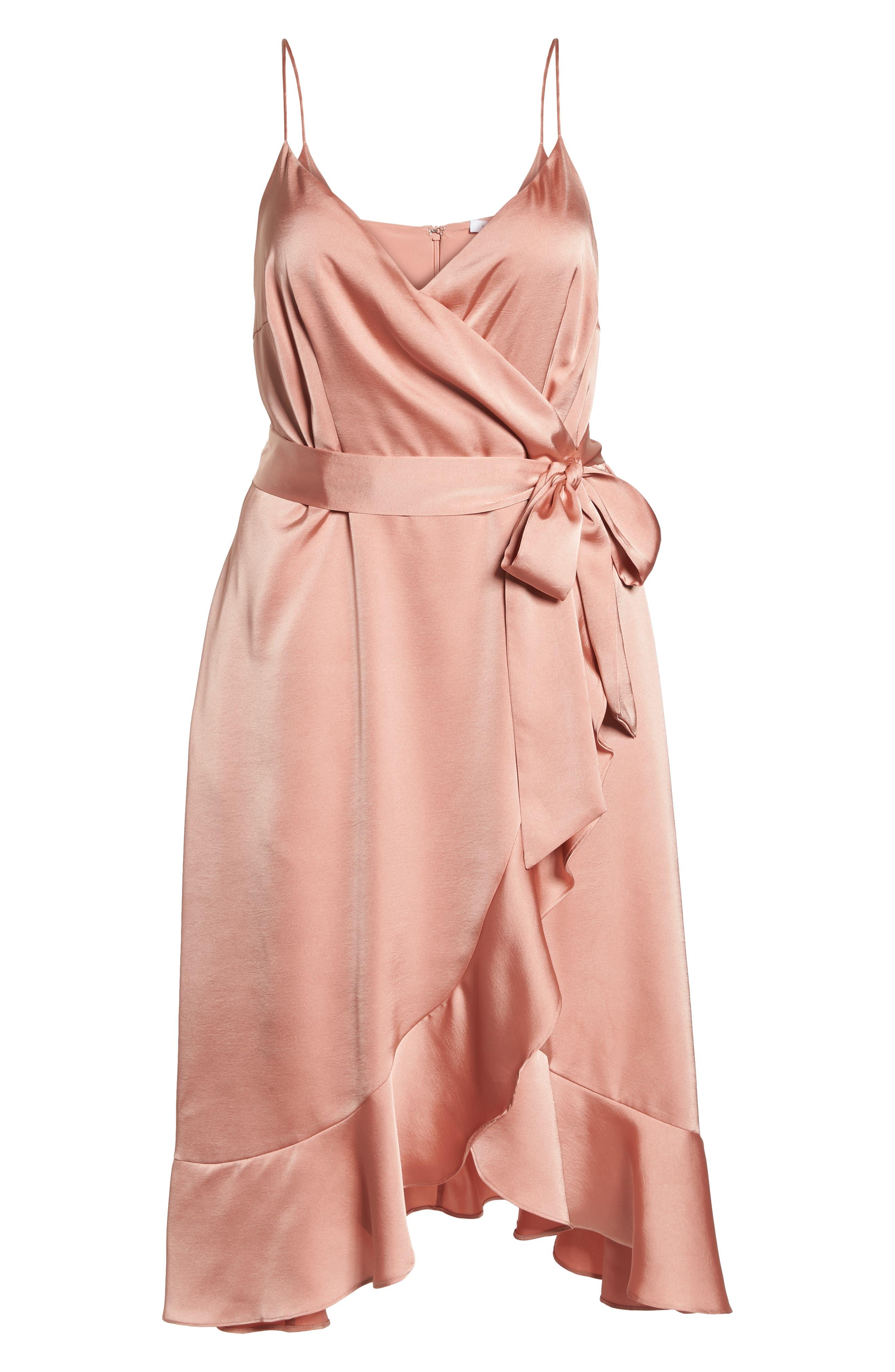 Marilyn Satin Faux Wrap Dress,                             Alternate thumbnail 9, color,                             Coral Haze