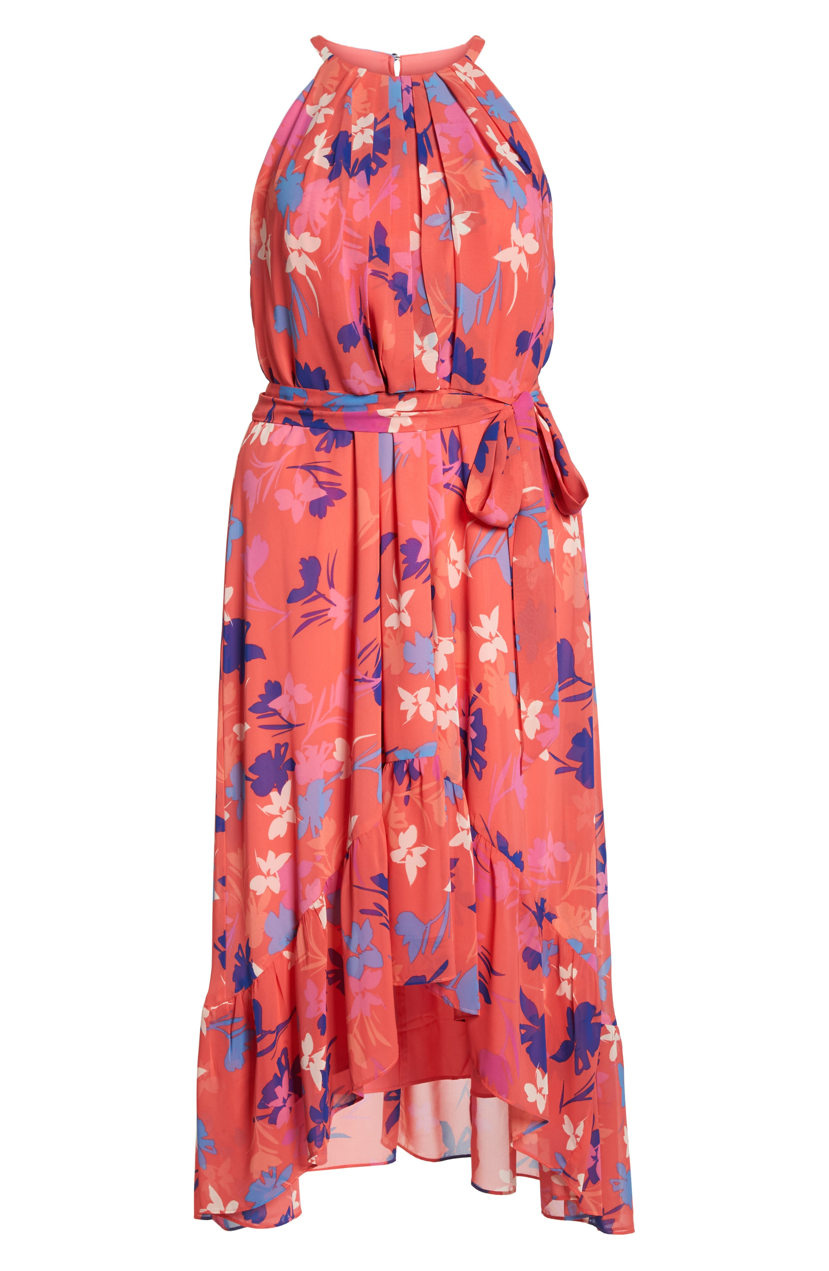 Floral High/Low Halter Dress,                             Alternate thumbnail 7, color,                             Coral/ Fiery Fuchsia/ Navy