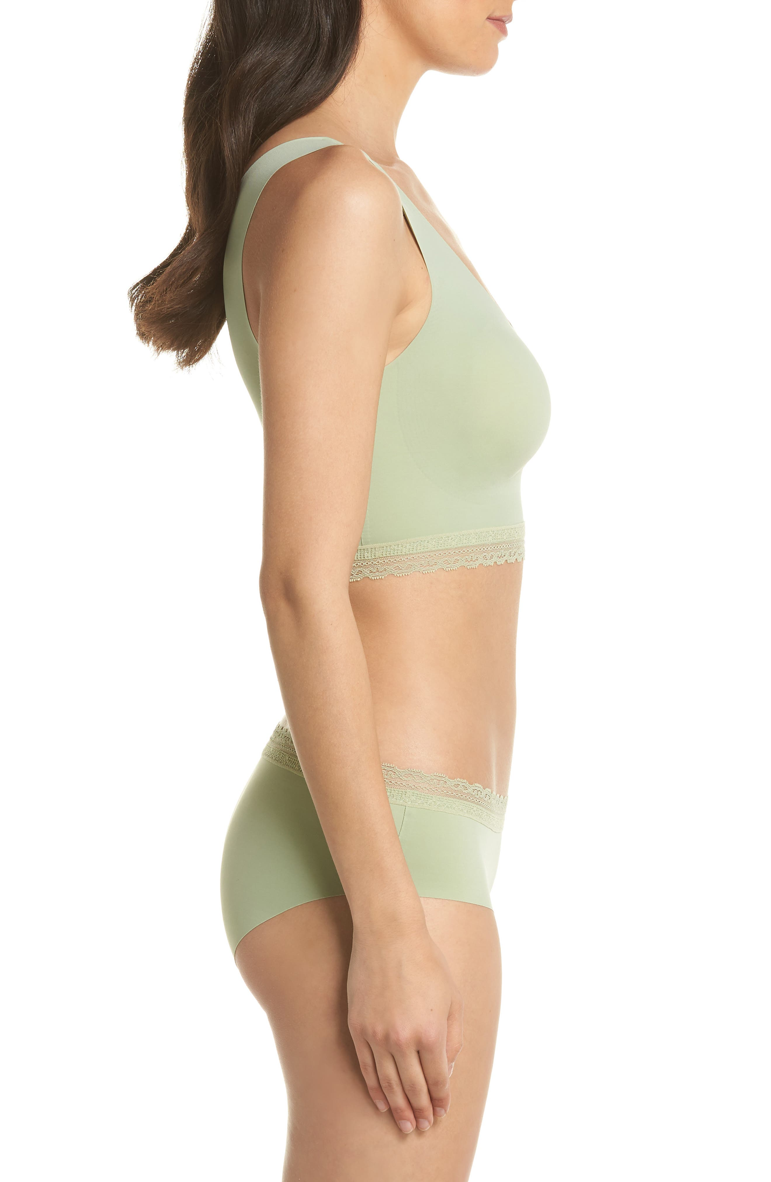 Almost Naked Lace Trim Hipster Briefs,                             Alternate thumbnail 6, color,                             Green Tea