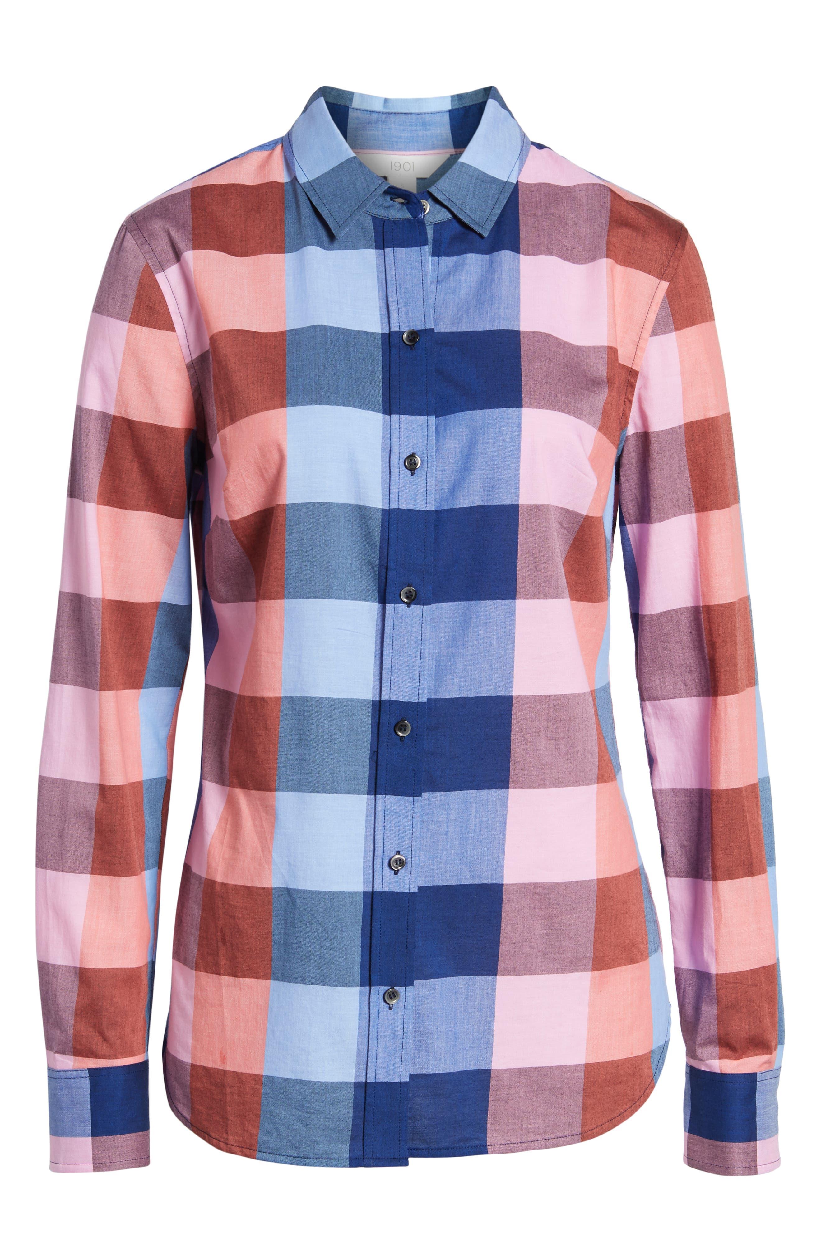 Plaid Cotton Button-Down Shirt,                             Alternate thumbnail 6, color,                             Blue- Pink Plaid