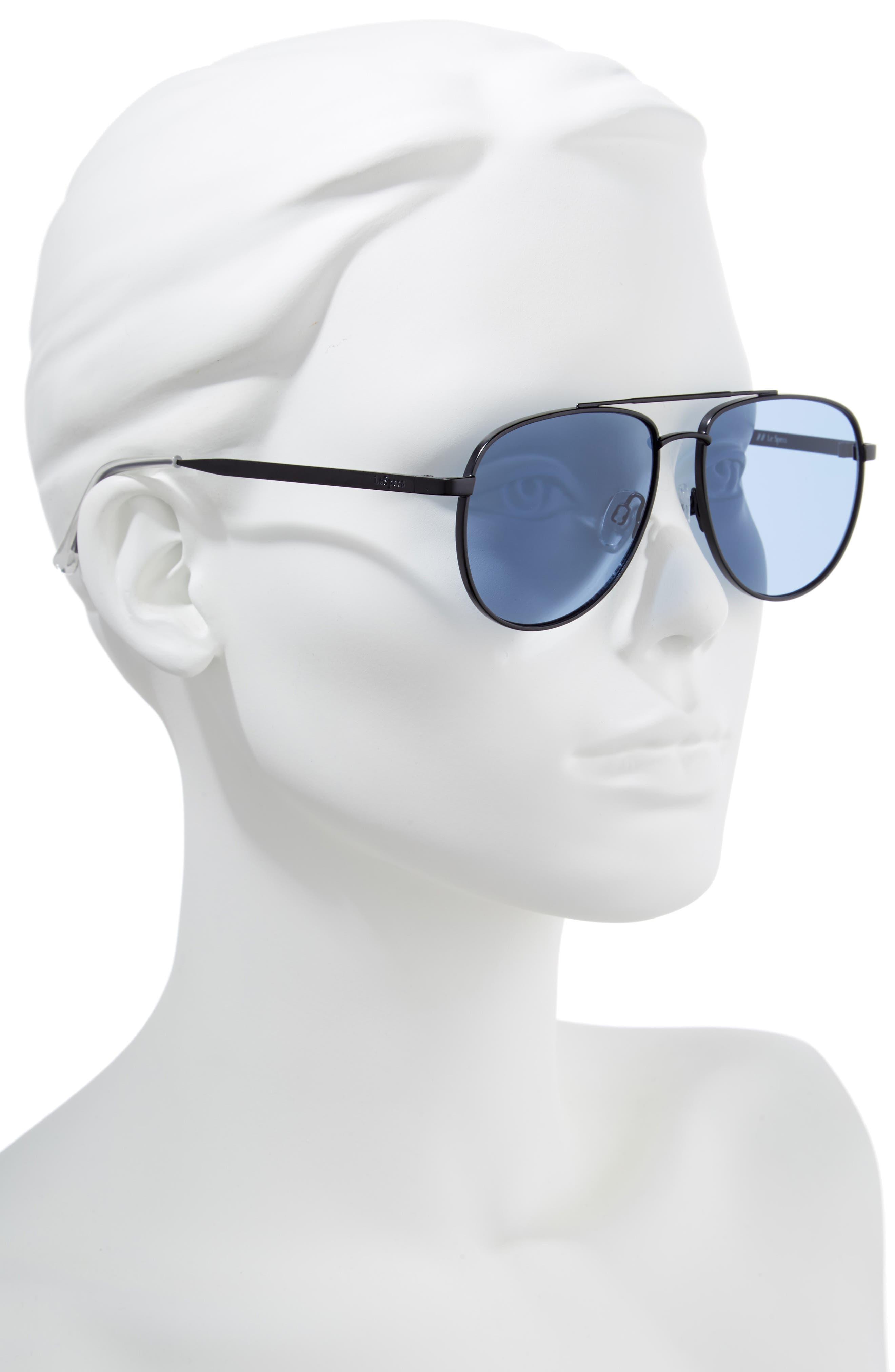 Hard Knock 57mm Aviator Sunglasses,                             Alternate thumbnail 2, color,                             Matte Navy