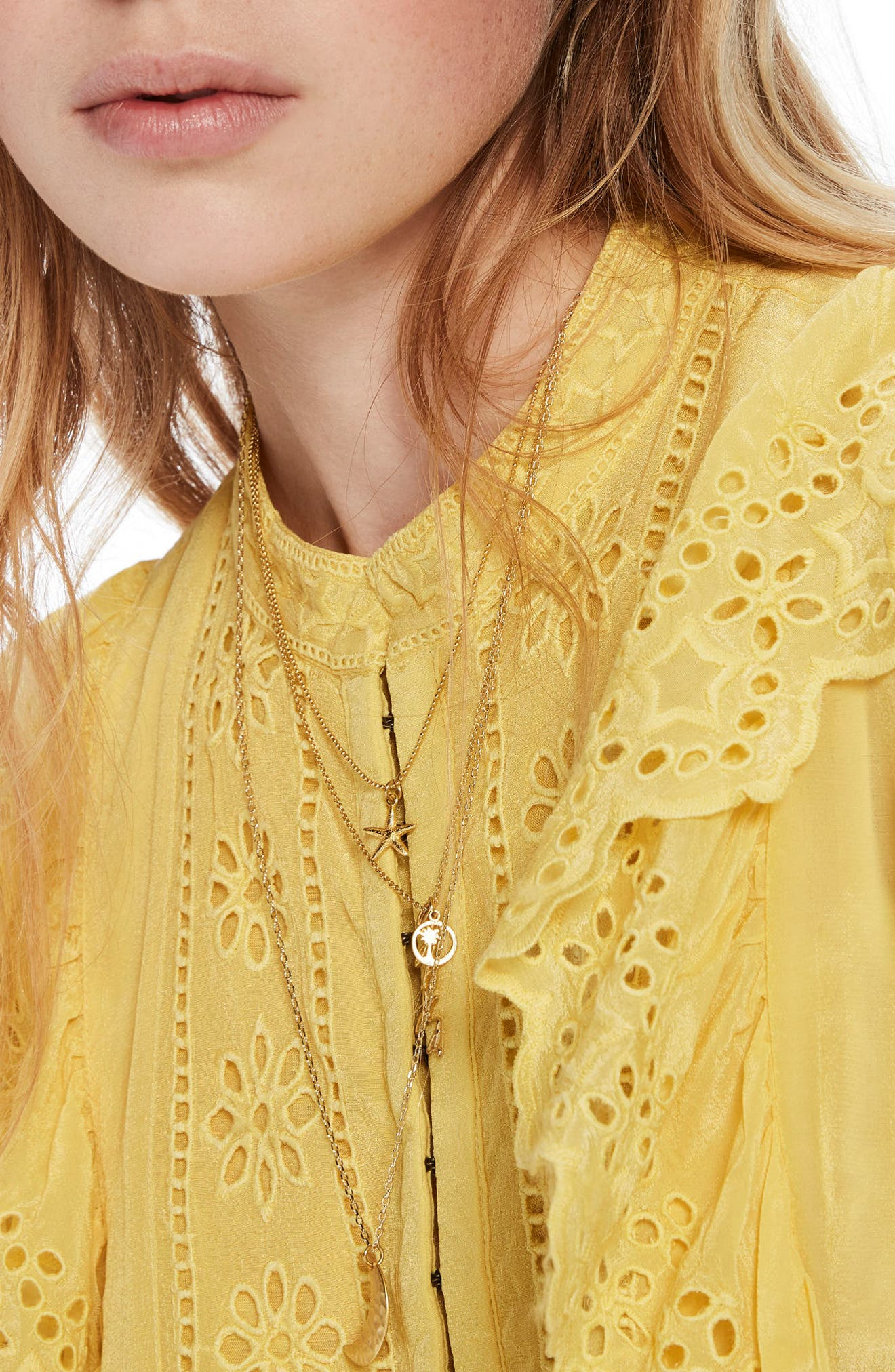 Ruffle Embroidered Eyelet Top,                             Alternate thumbnail 3, color,                             2118 Cheddar