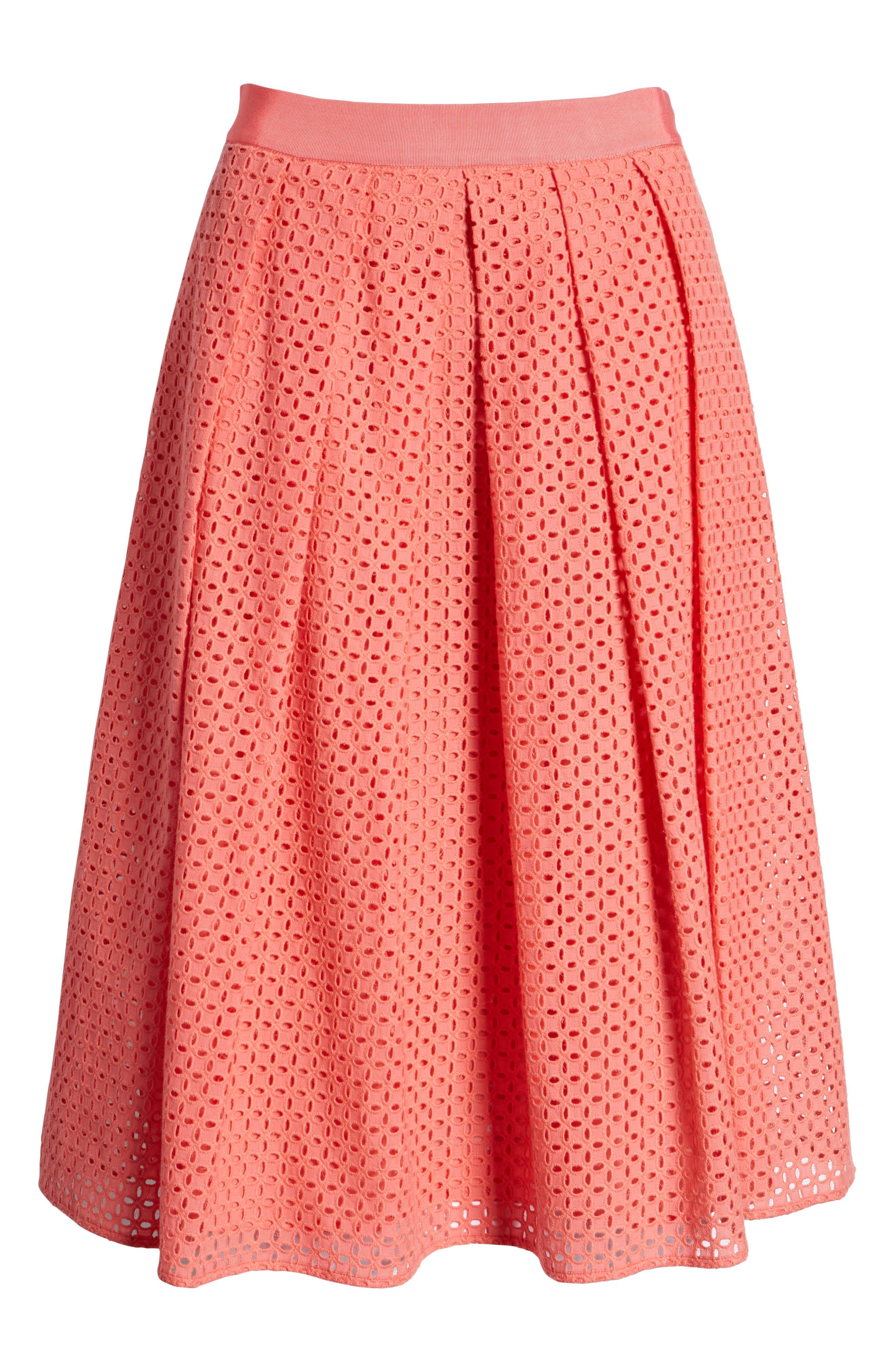 Eyelet A-Line Skirt,                             Alternate thumbnail 6, color,                             Coral Sugar