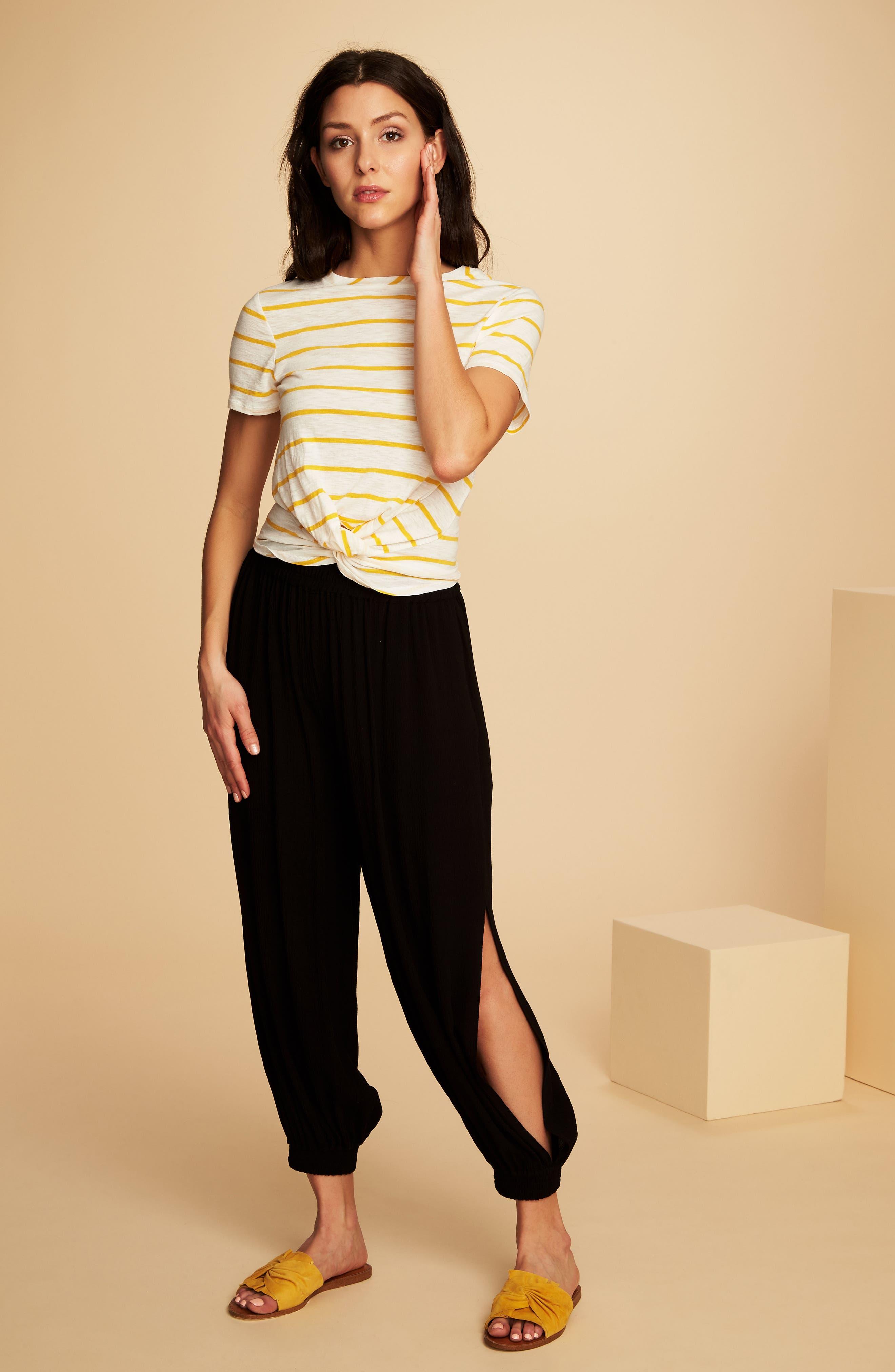 Stripe Twist Front Short Sleeve Tee,                             Alternate thumbnail 3, color,                             Rich Marigold