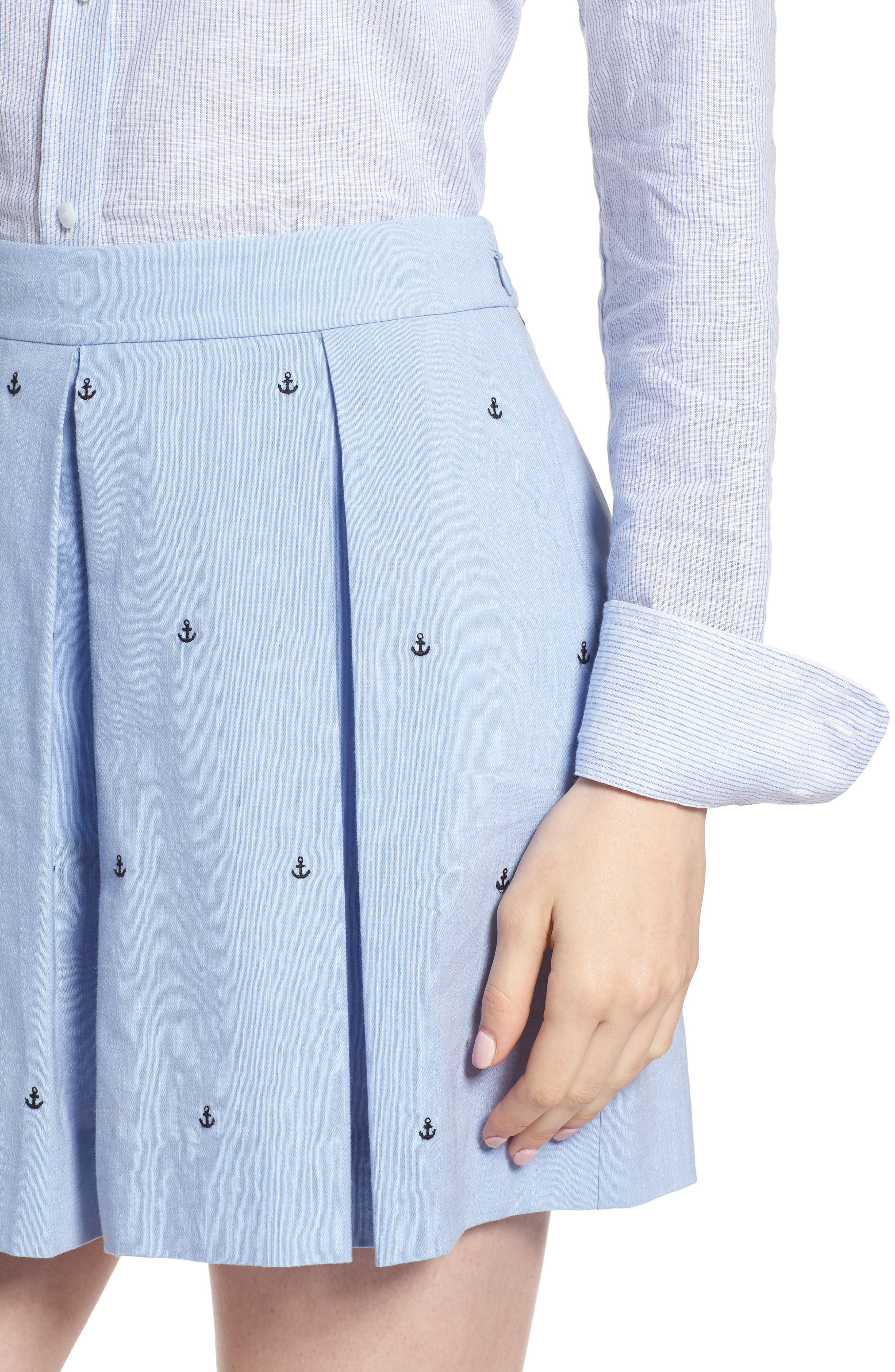 Anchor Embroidery Pleated Cotton Shorts,                             Alternate thumbnail 4, color,                             Chambray Anchor Print