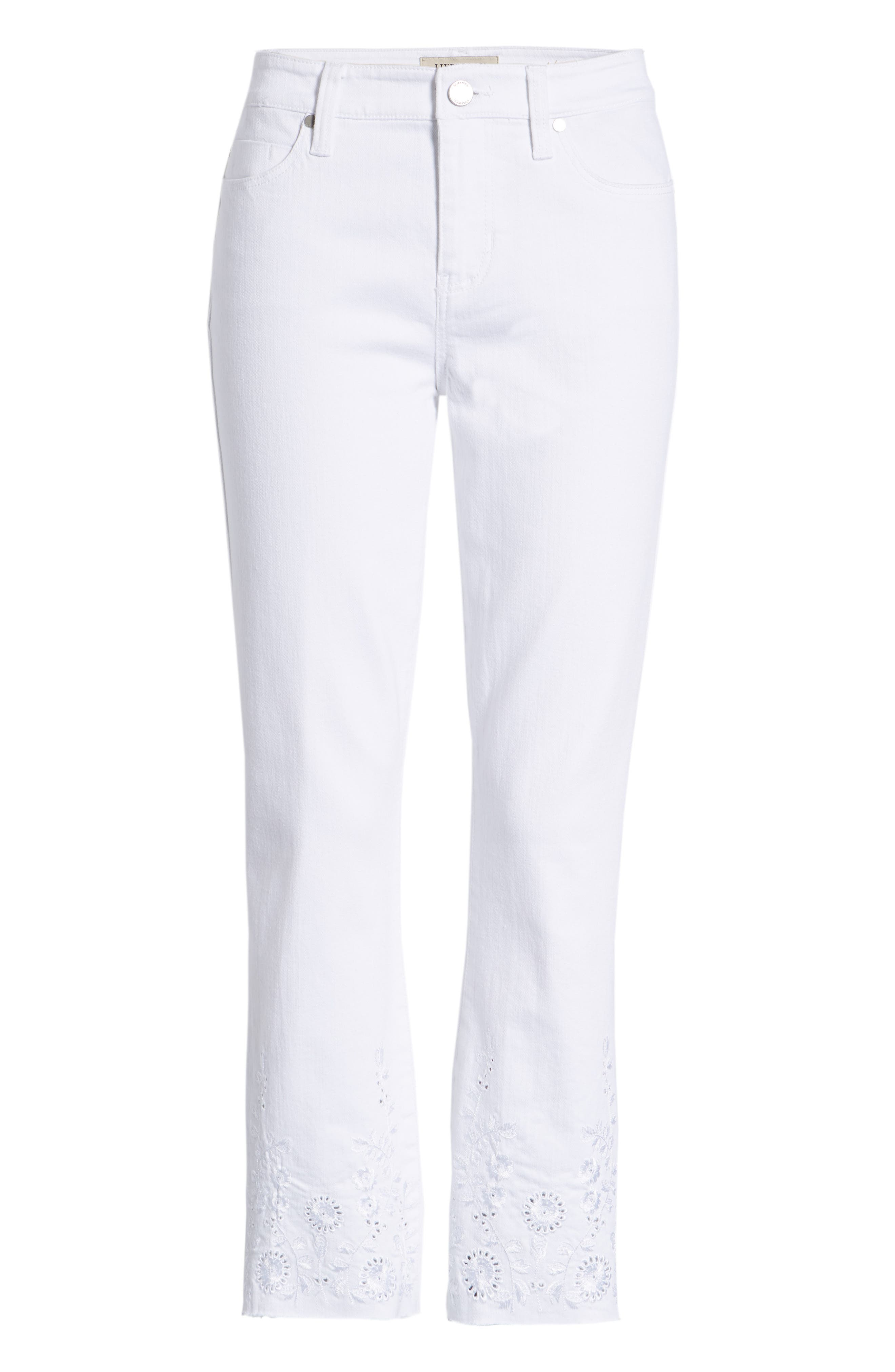 Hannah Embroidered Raw Hem Jeans,                             Alternate thumbnail 7, color,                             Bright White