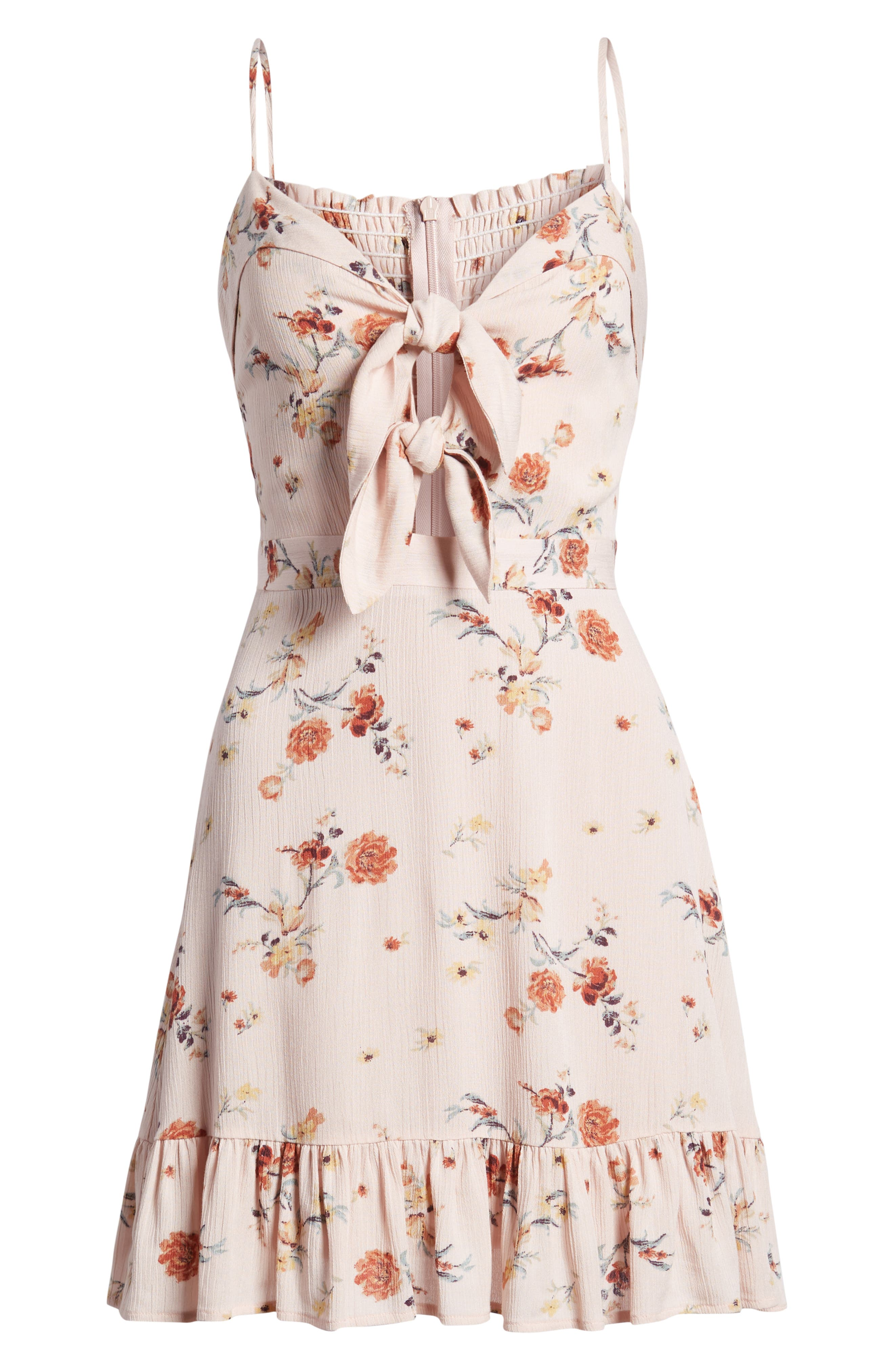 Rosa Floral Tie Front Minidress,                             Alternate thumbnail 8, color,                             Pink Floral
