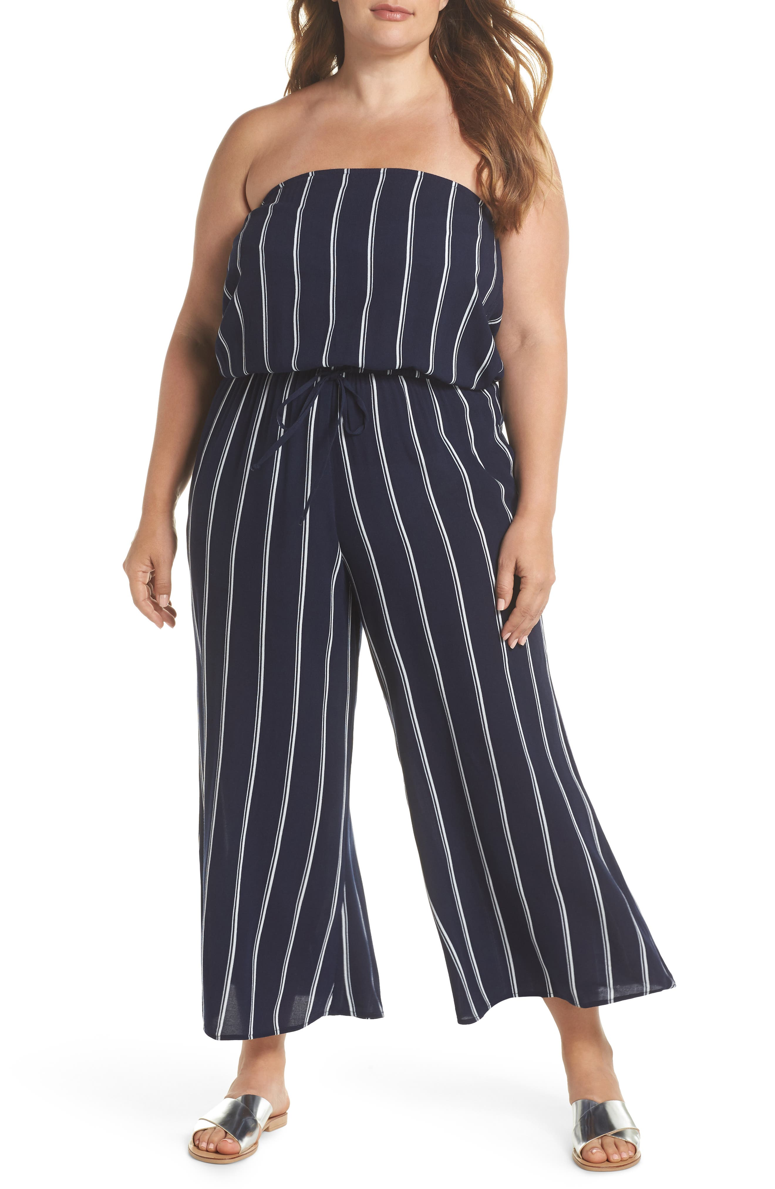 Strapless Cover-Up Jumpsuit,                         Main,                         color, Navy/ White
