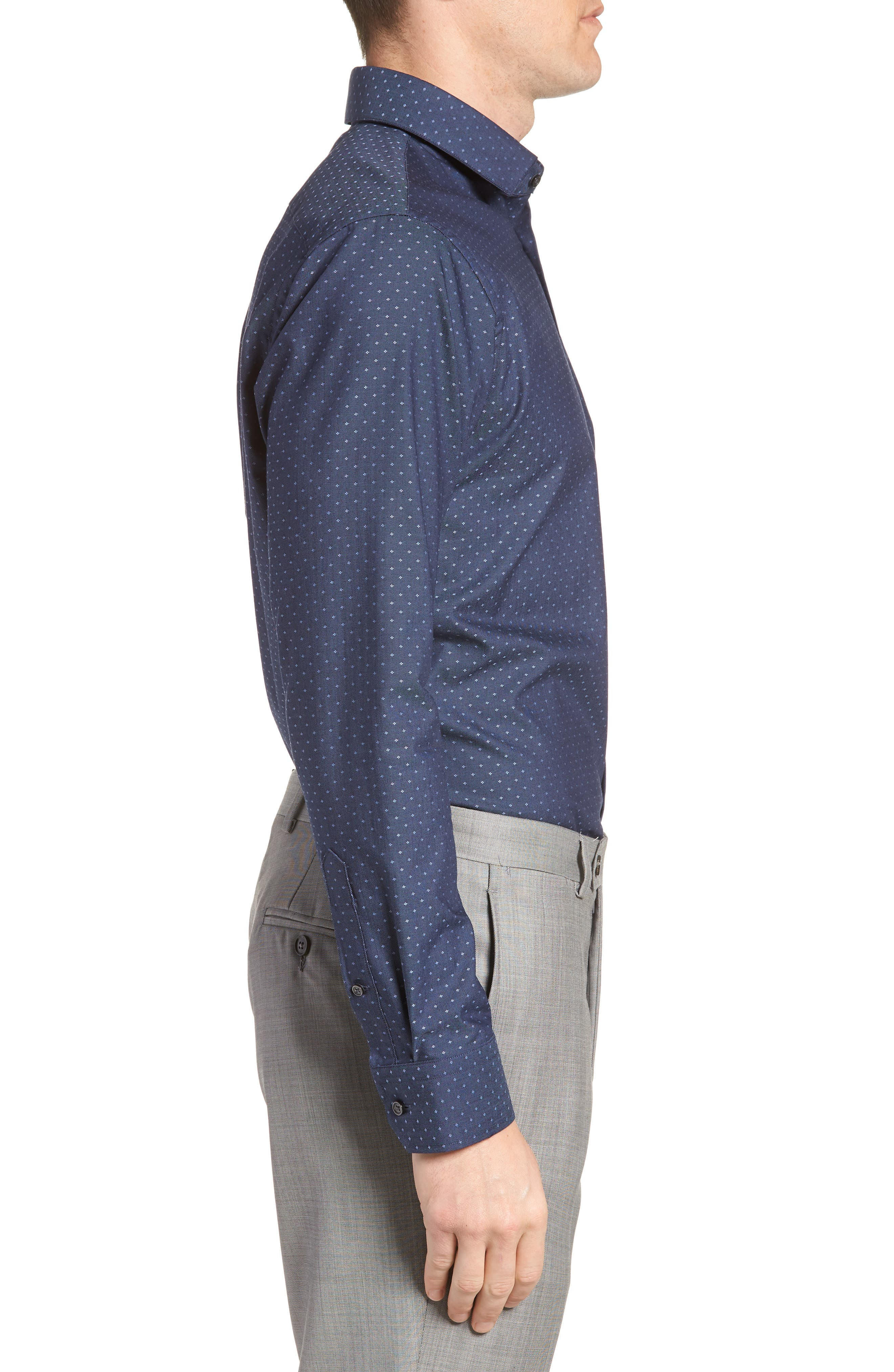 Trim Fit Jacquard Dress Shirt,                             Alternate thumbnail 4, color,                             Navy Medieval
