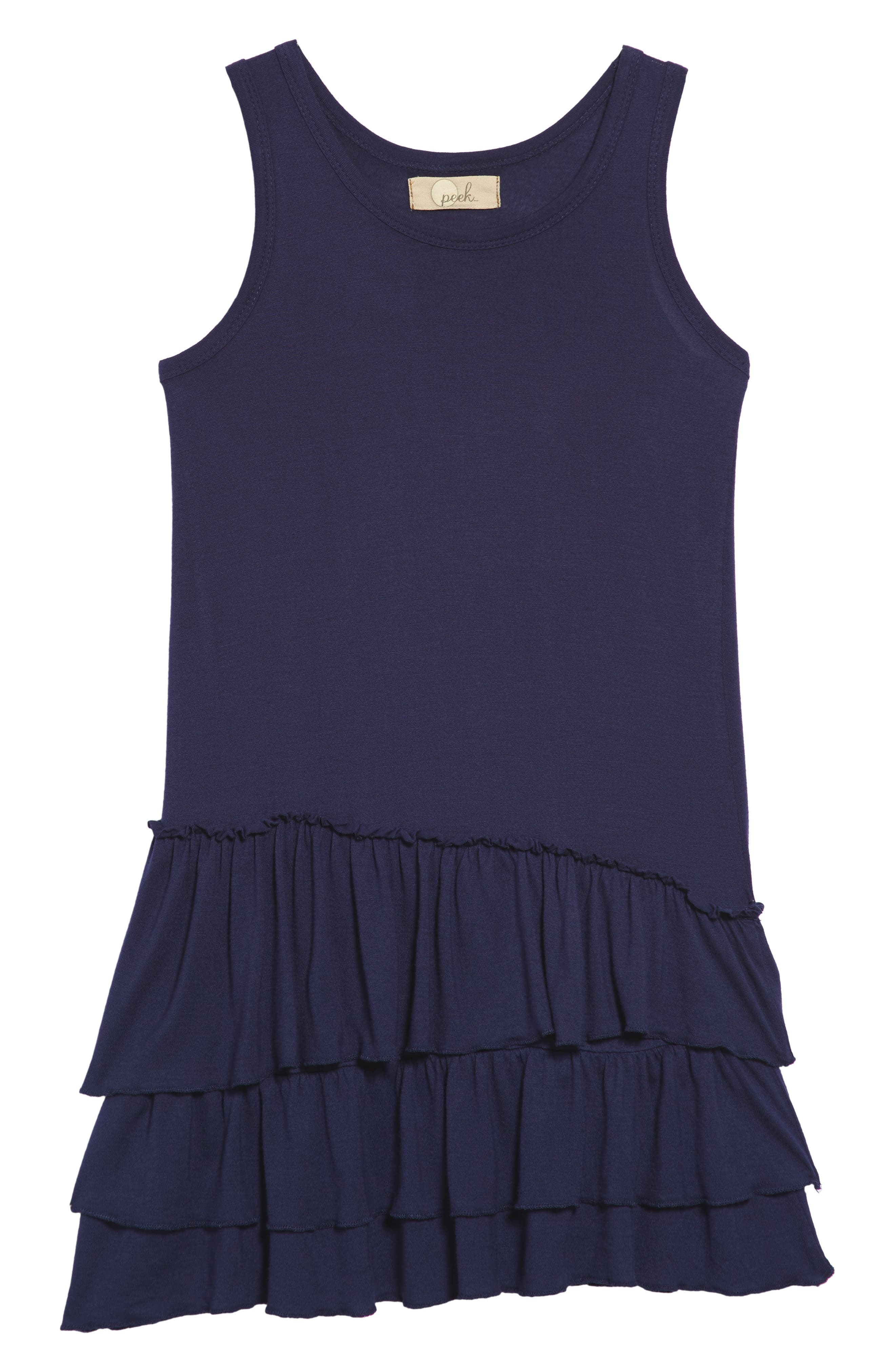 Tiered Tank Dress,                         Main,                         color, Navy