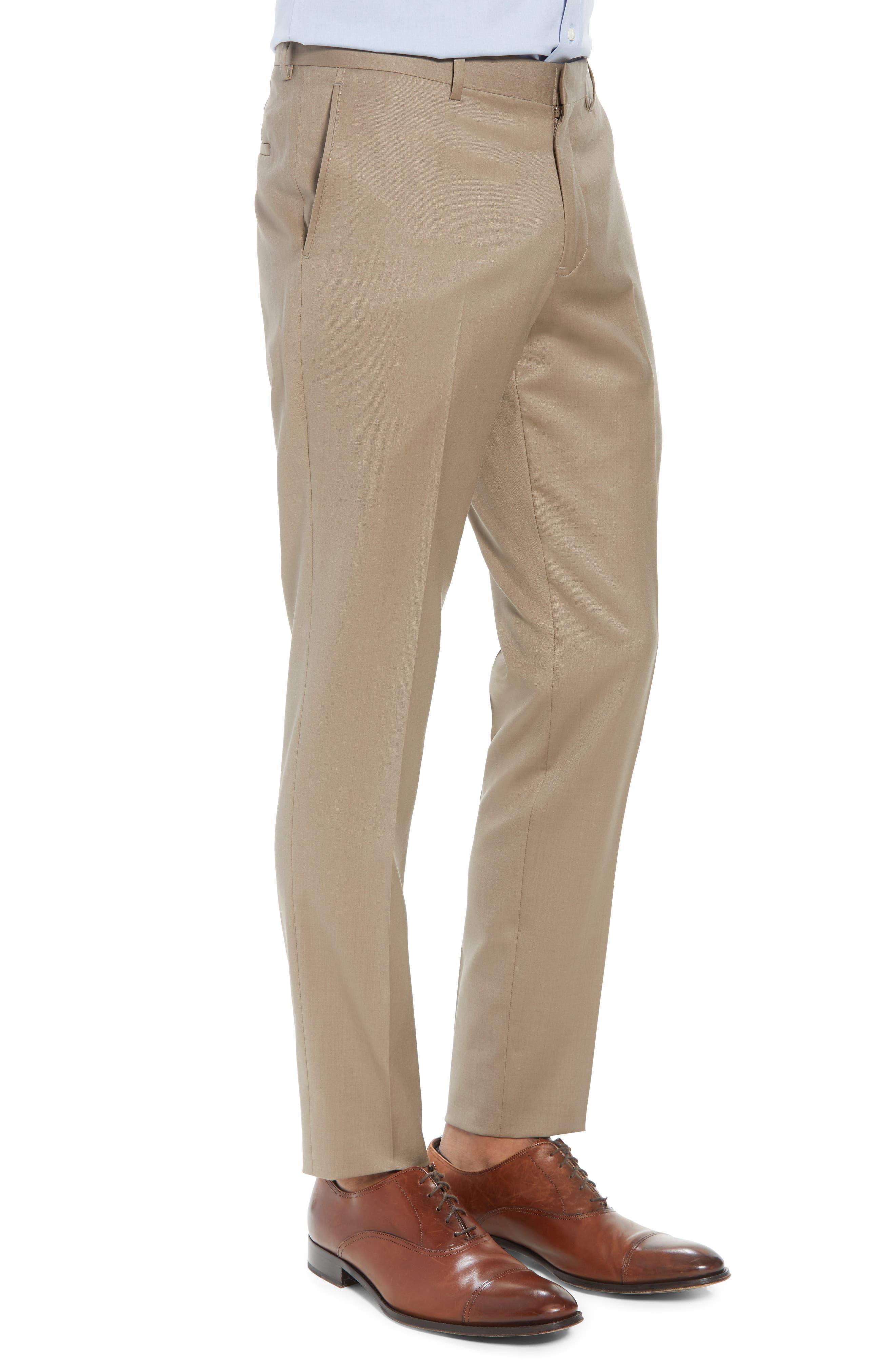 Flat Front Tech-Smart Extra Trim Trousers,                             Alternate thumbnail 3, color,                             Tan