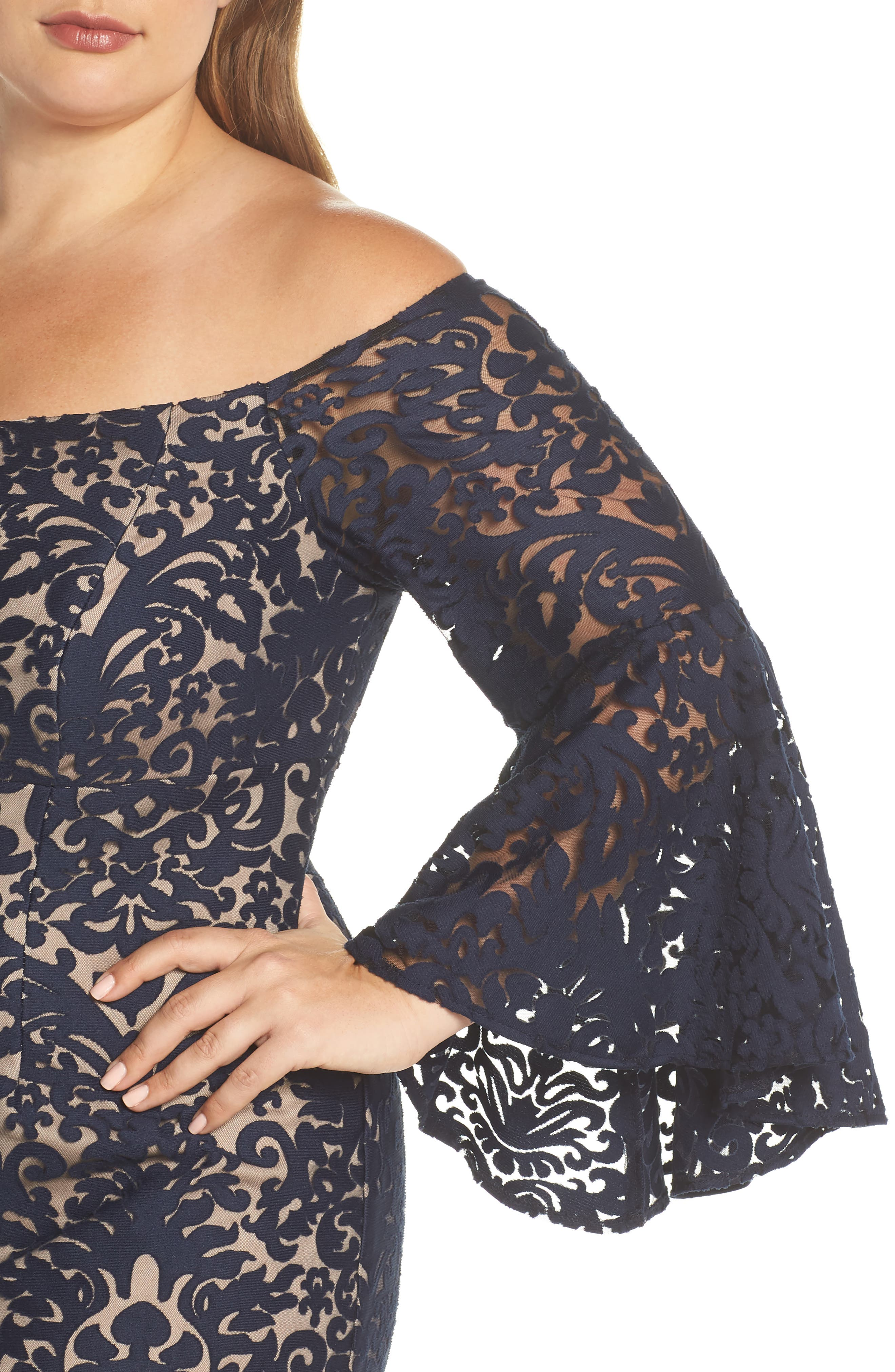 Bell Sleeve Off the Shoulder Burnout Lace Dress,                             Alternate thumbnail 4, color,                             Navy/ Nude