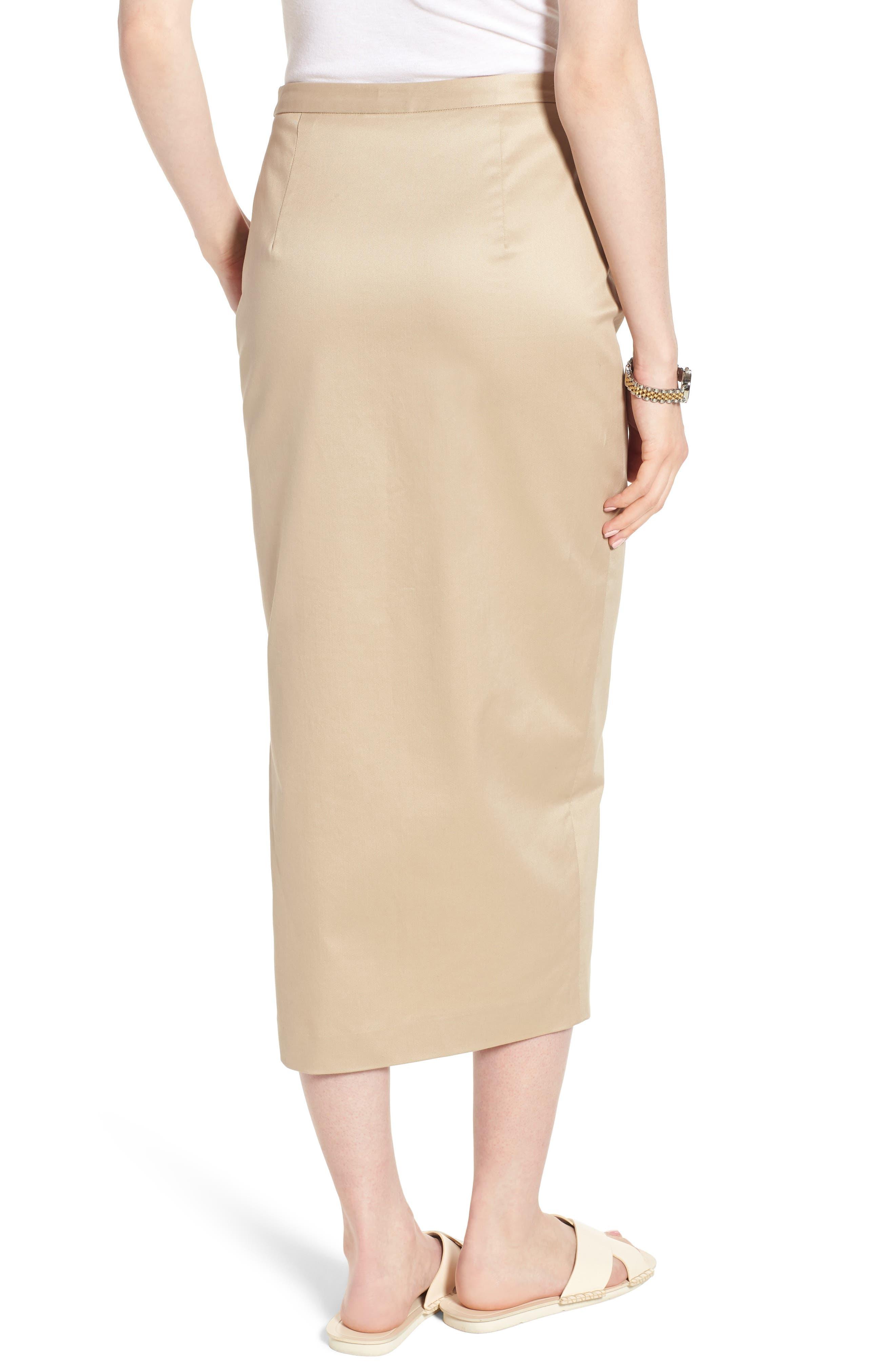 Side Slit Cotton Blend Pencil Skirt,                             Alternate thumbnail 2, color,                             Tan