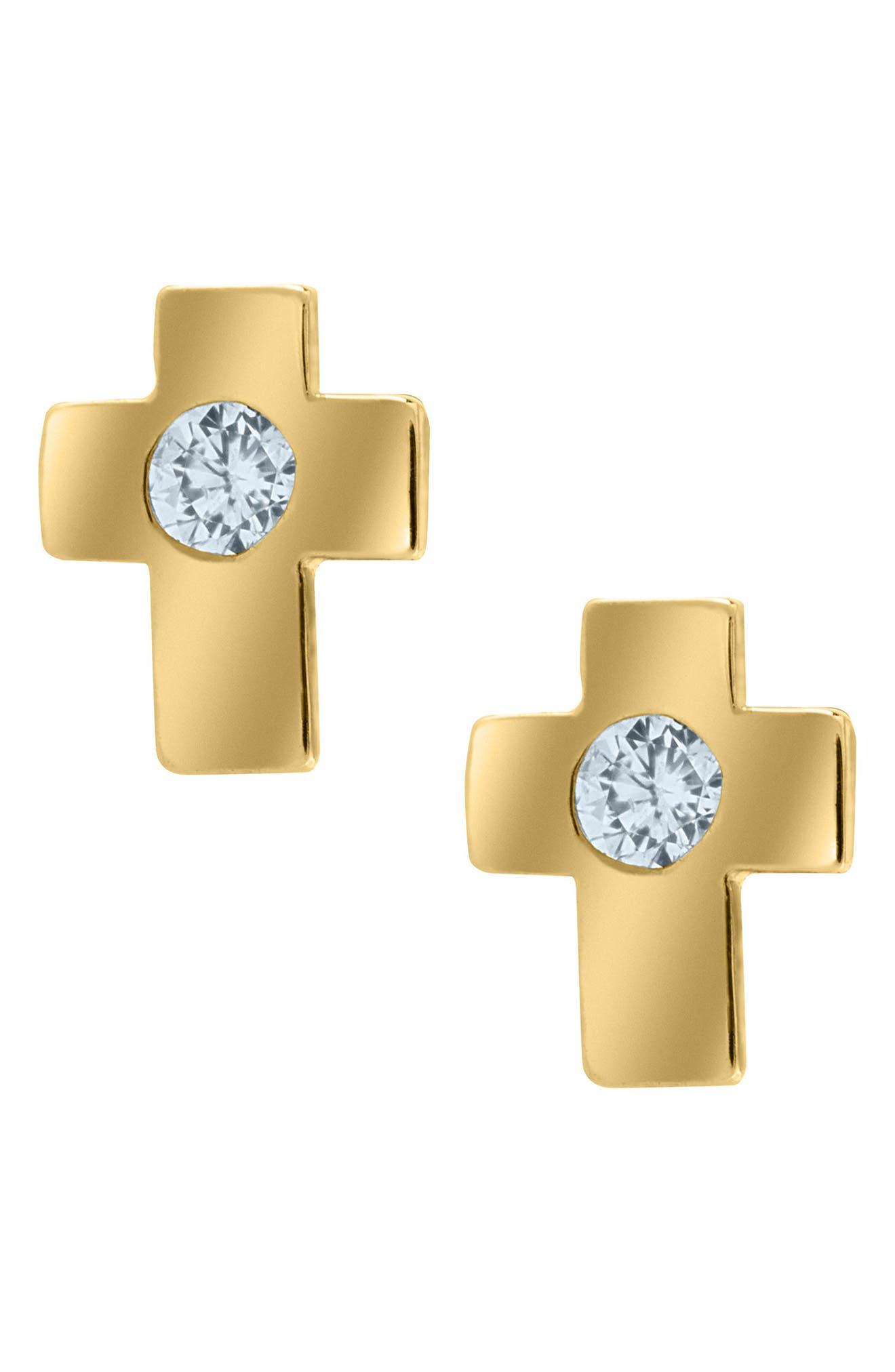 Mignonette 14k Gold & Cubic Zirconia Cross Earrings (Baby Girls)