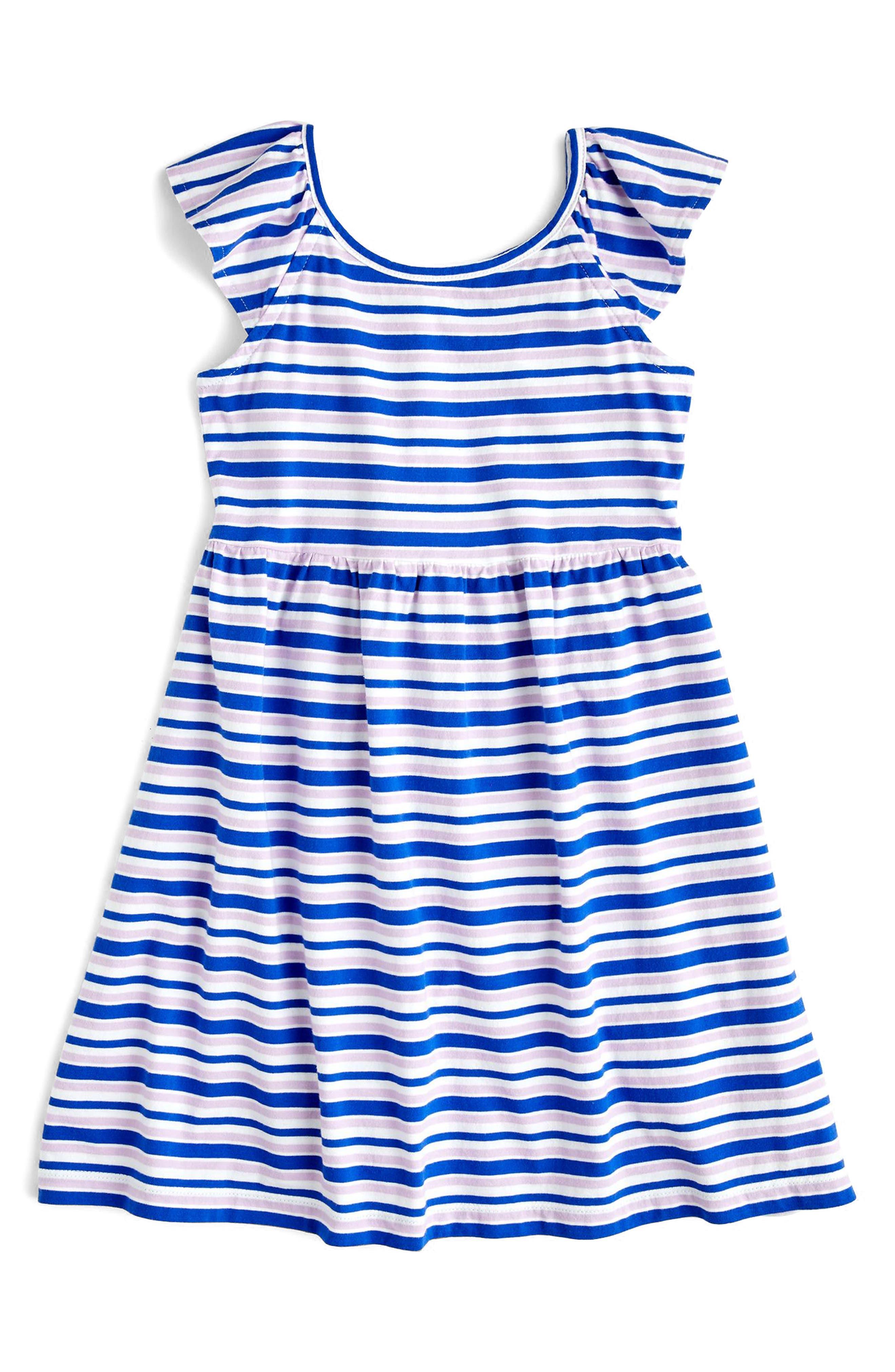 crewcuts by J. Crew Stripe Flutter Sleeve Dress (Toddler Girls, Little Girls & Big Girls)