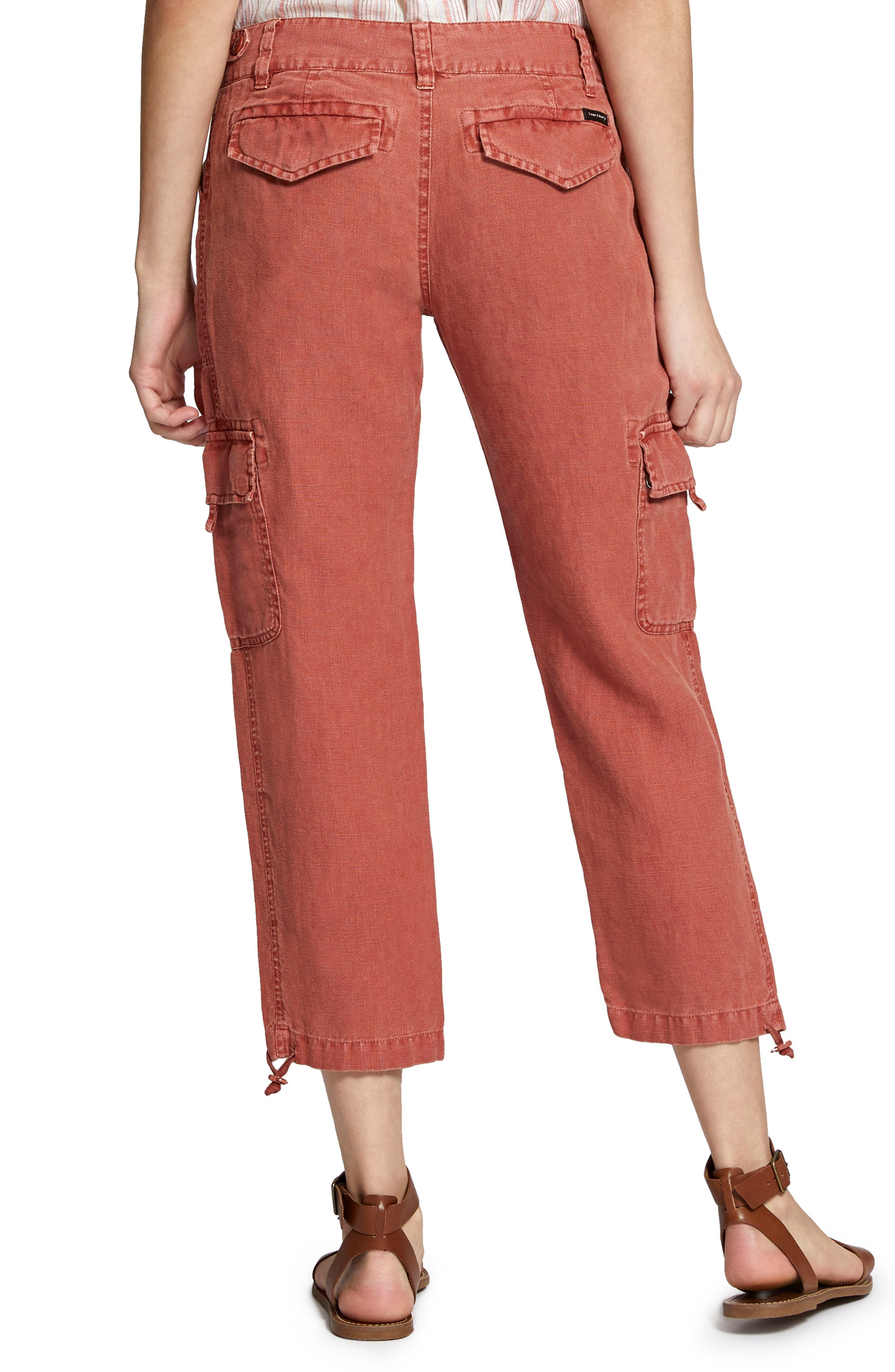 Terrain Linen Crop Cargo Pants,                             Alternate thumbnail 2, color,                             Terra Cotta