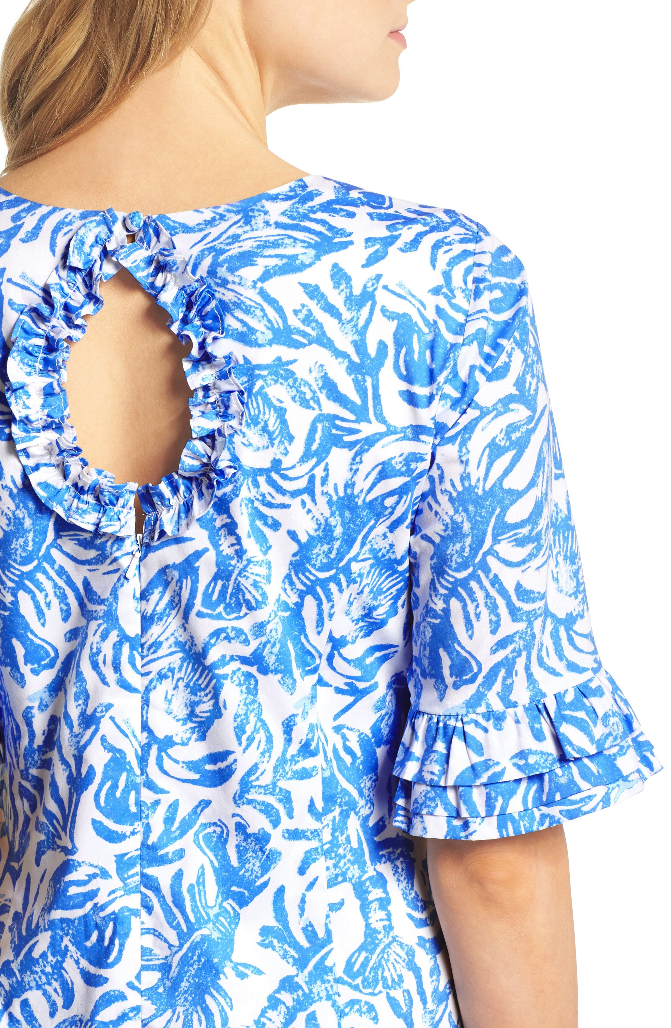 Fiesta Stretch Sheath Dress,                             Alternate thumbnail 4, color,                             Resort White On A Roll