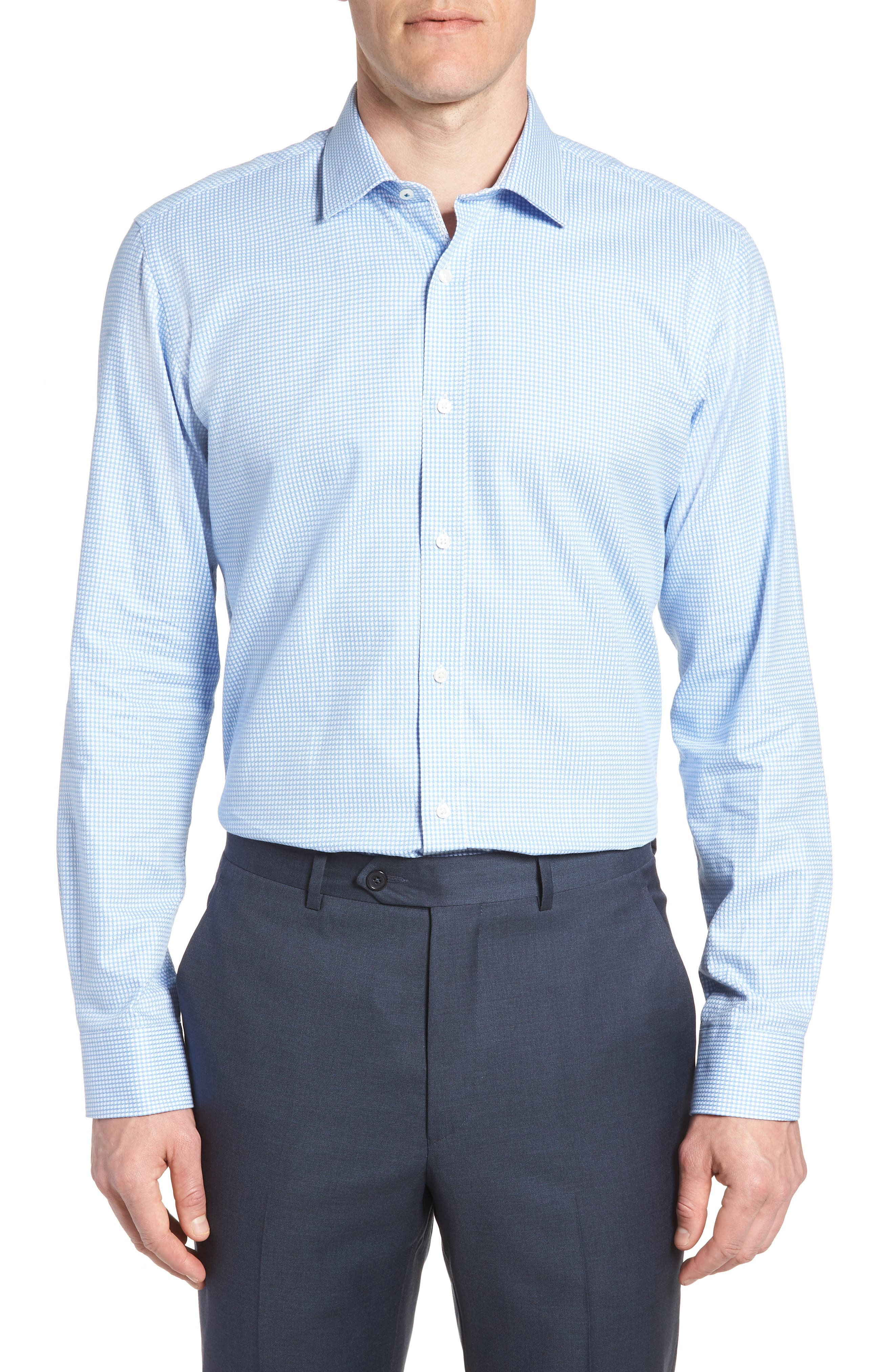 Jaiden Trim Fit Houndstooth Dress Shirt,                         Main,                         color, Light Blue