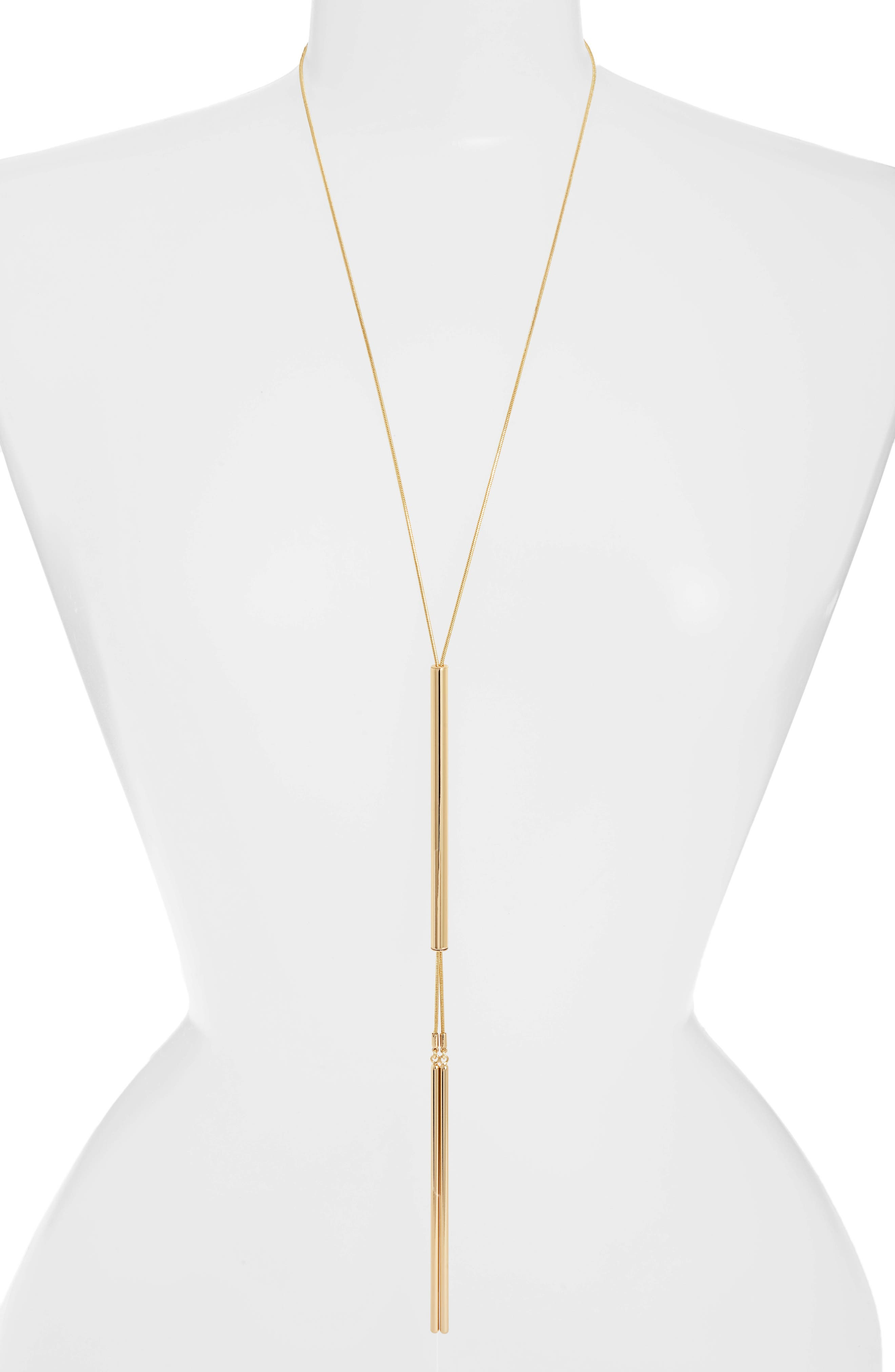 Forme Lariat Necklace,                         Main,                         color, High Polish Gold