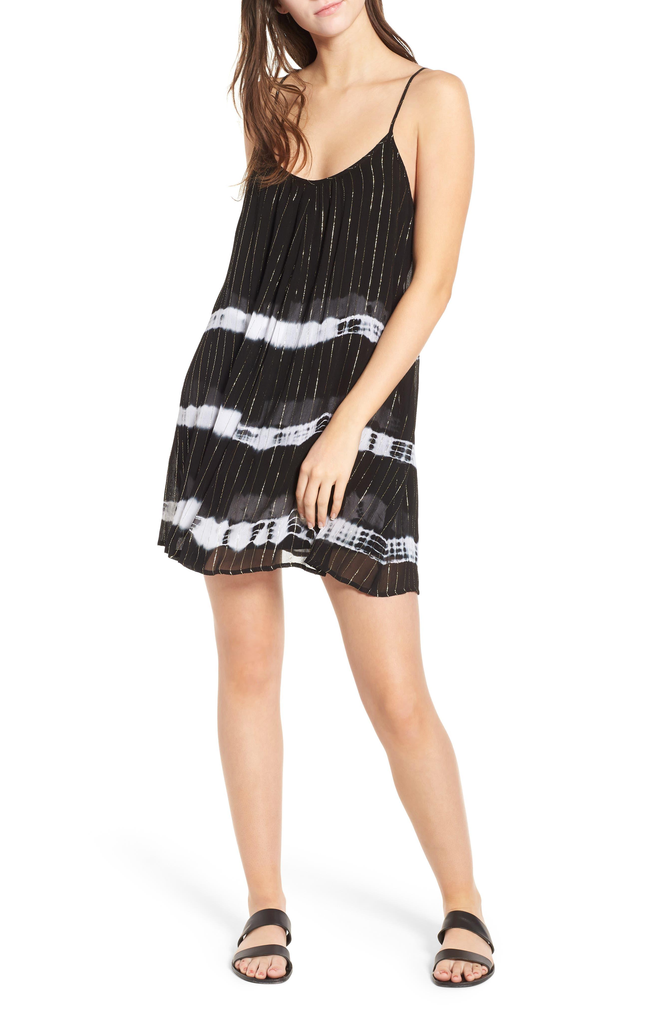 Dos Ojos Tie Dye Cover Up Dress,                             Main thumbnail 1, color,                             Black Multi