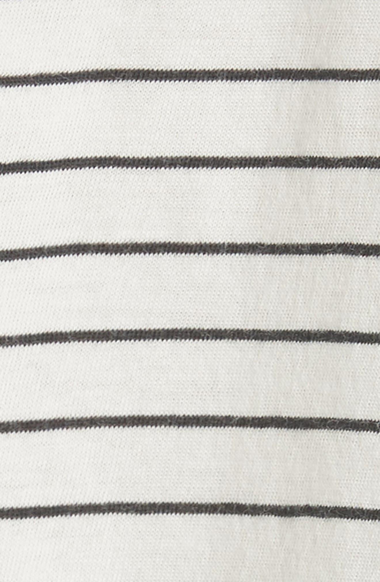 Pencil Stripe Pima Cotton Pullover Top,                             Alternate thumbnail 5, color,                             Vanilla/ Iron