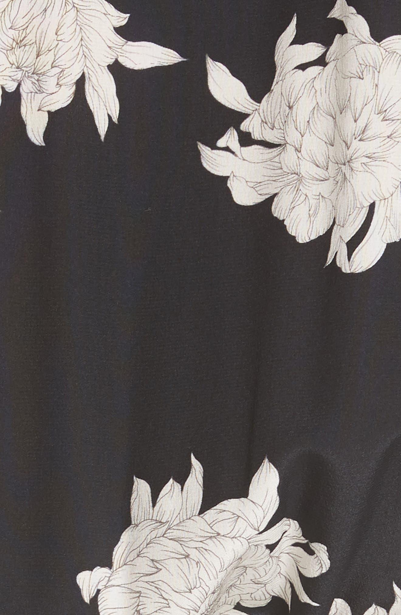 Chrysanthemum Print Silk Jumpsuit,                             Alternate thumbnail 5, color,                             Coastal