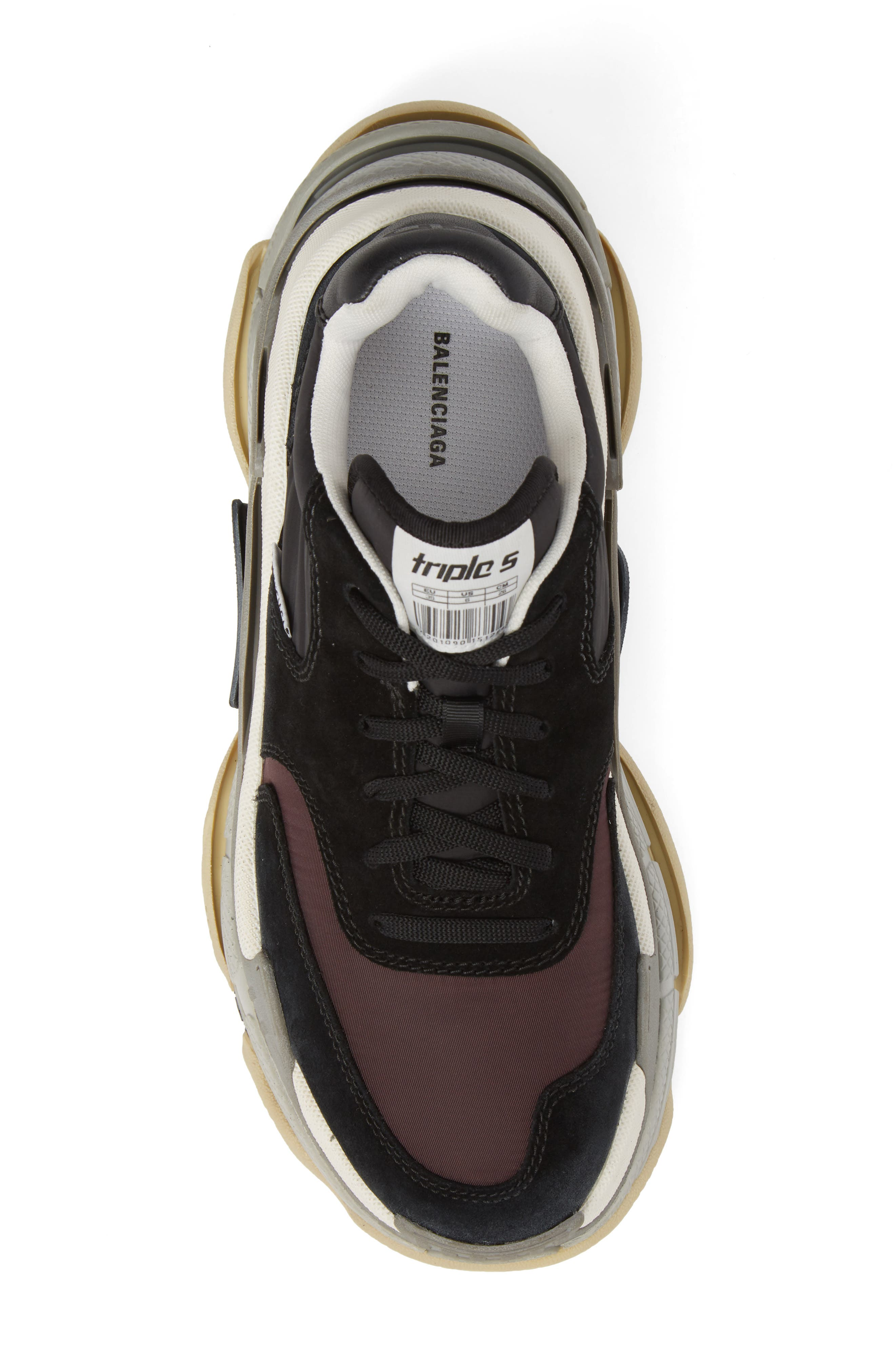 Triple S Retro Sneaker,                             Alternate thumbnail 5, color,                             Black/ Bordeaux