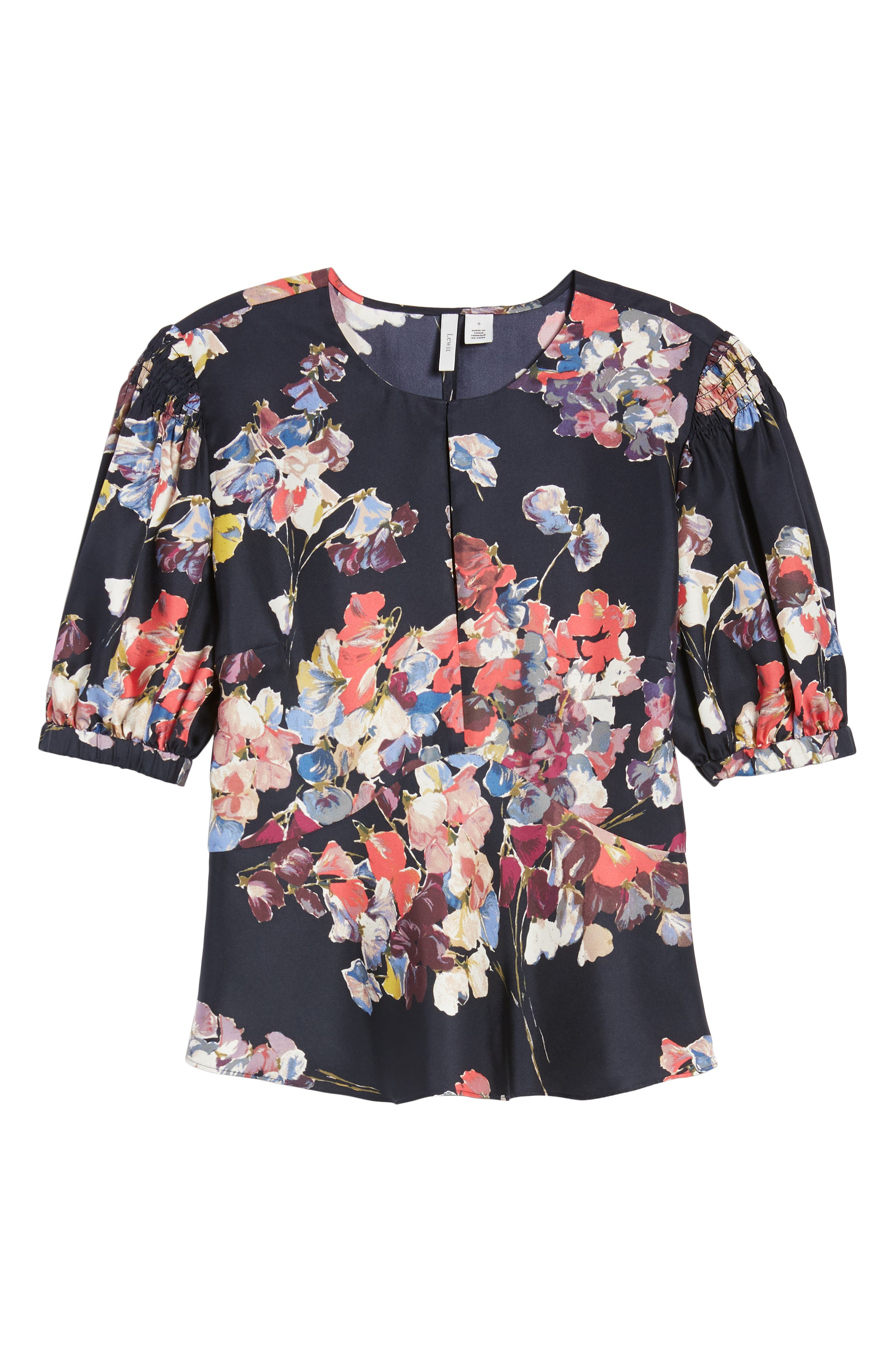 Puffed Sleeve Print Top,                             Alternate thumbnail 7, color,                             Navy Night Sheridan Floral